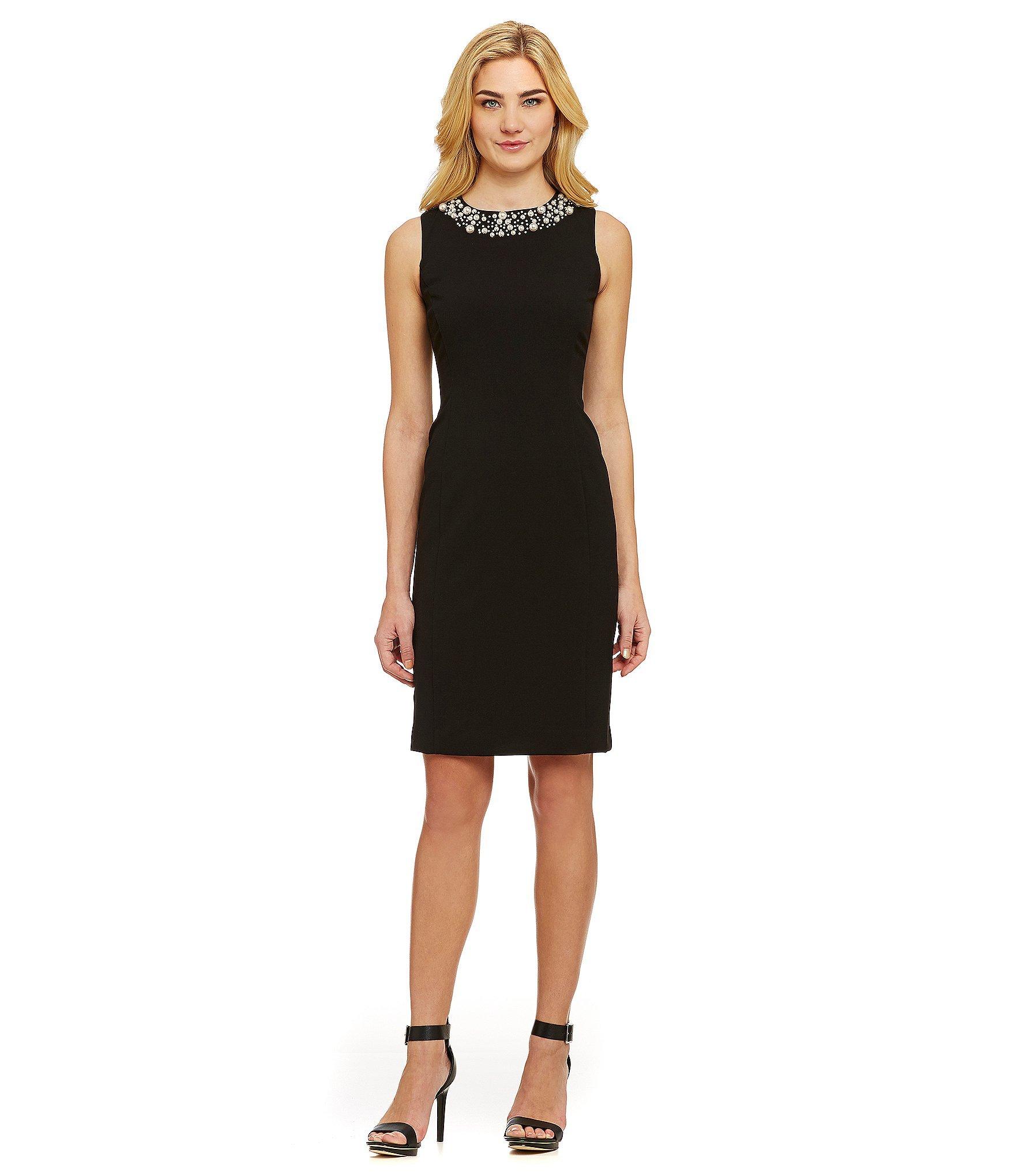 Calvin Klein Women S Black Beaded Sleeveless Wear To Work Dress