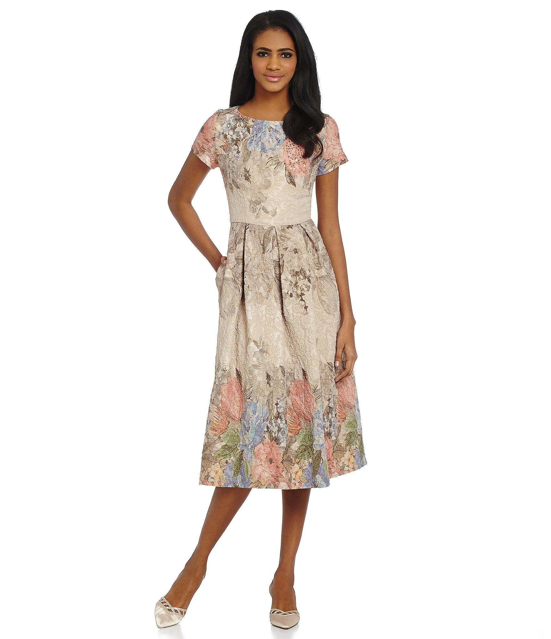 cb24085d3b26 Adrianna Papell Multicolor Beaded Floral Print Dress