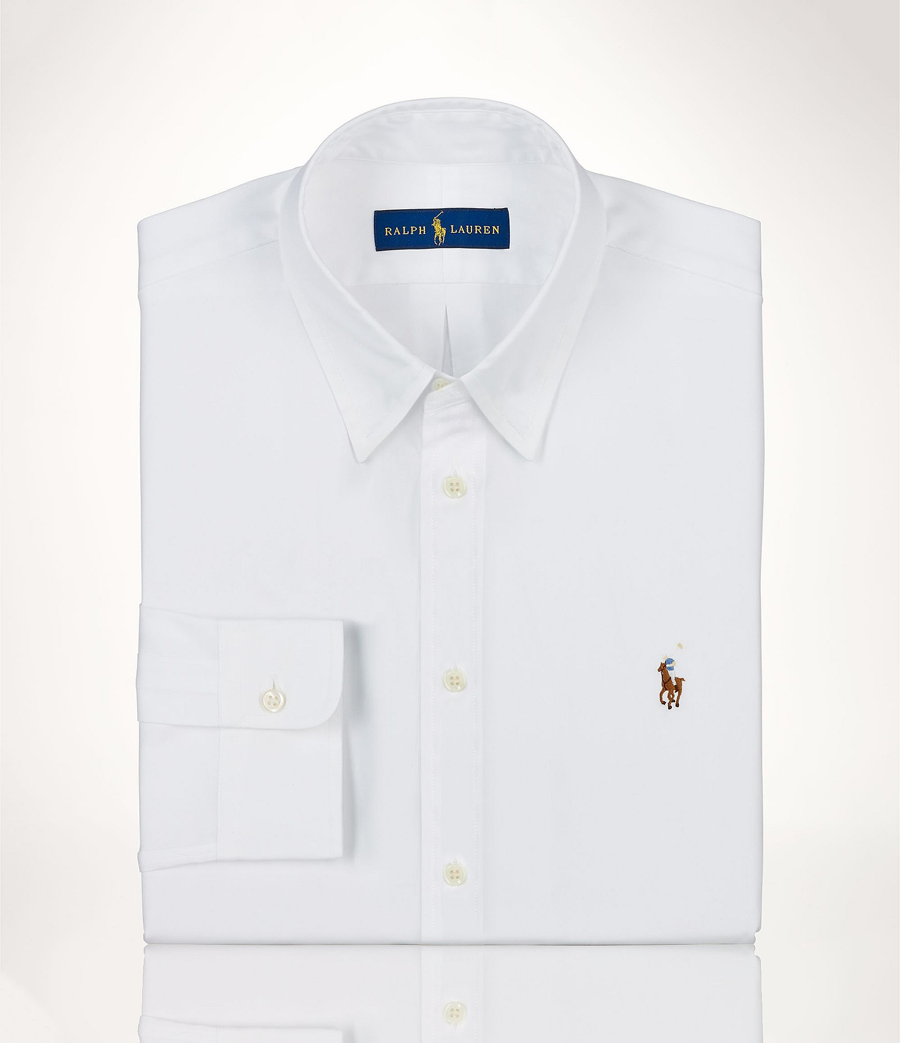 Polo ralph lauren fitted classic fit oxford point collar for Classic white dress shirt