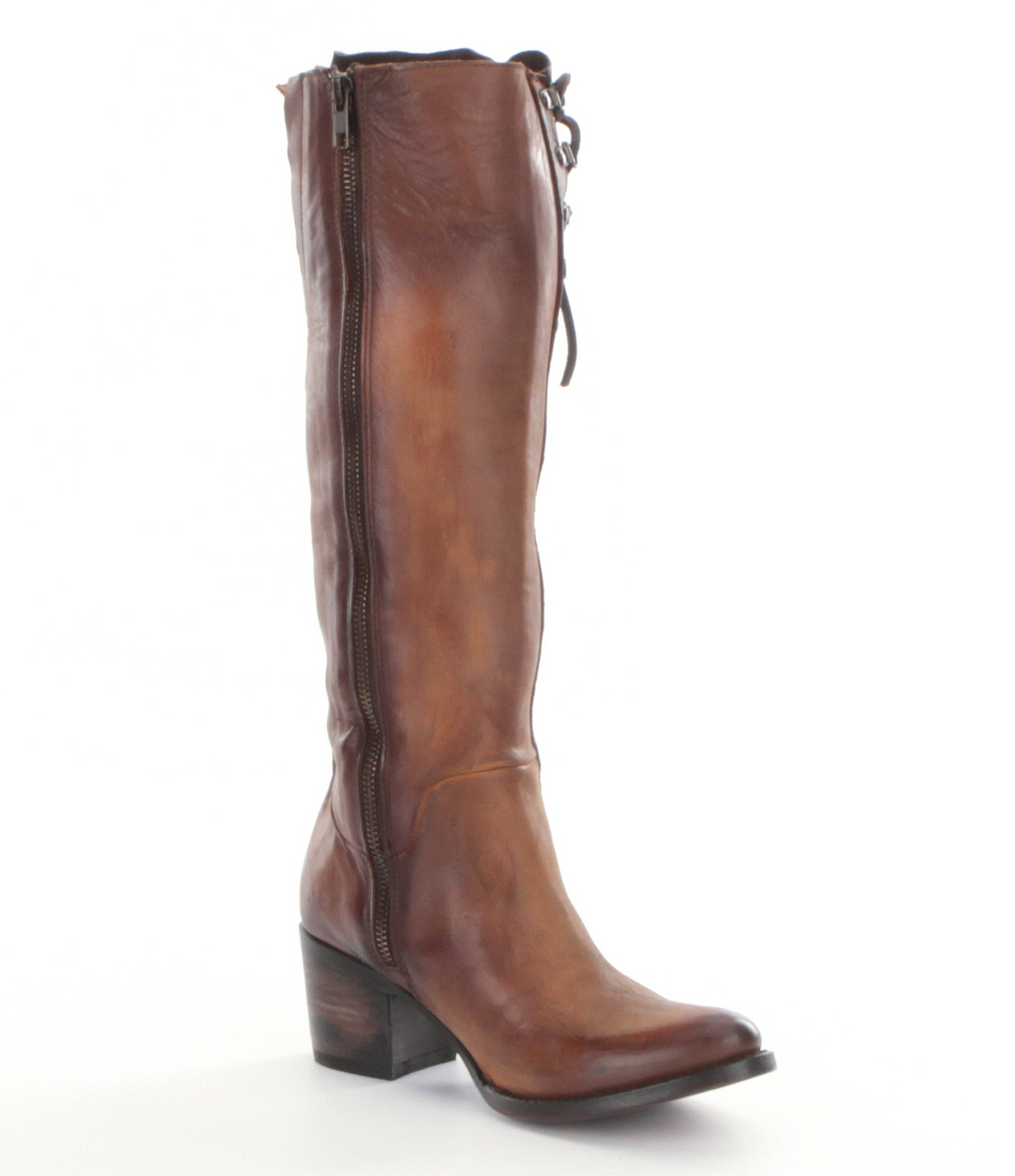freebird wyatt lace up boots in brown lyst