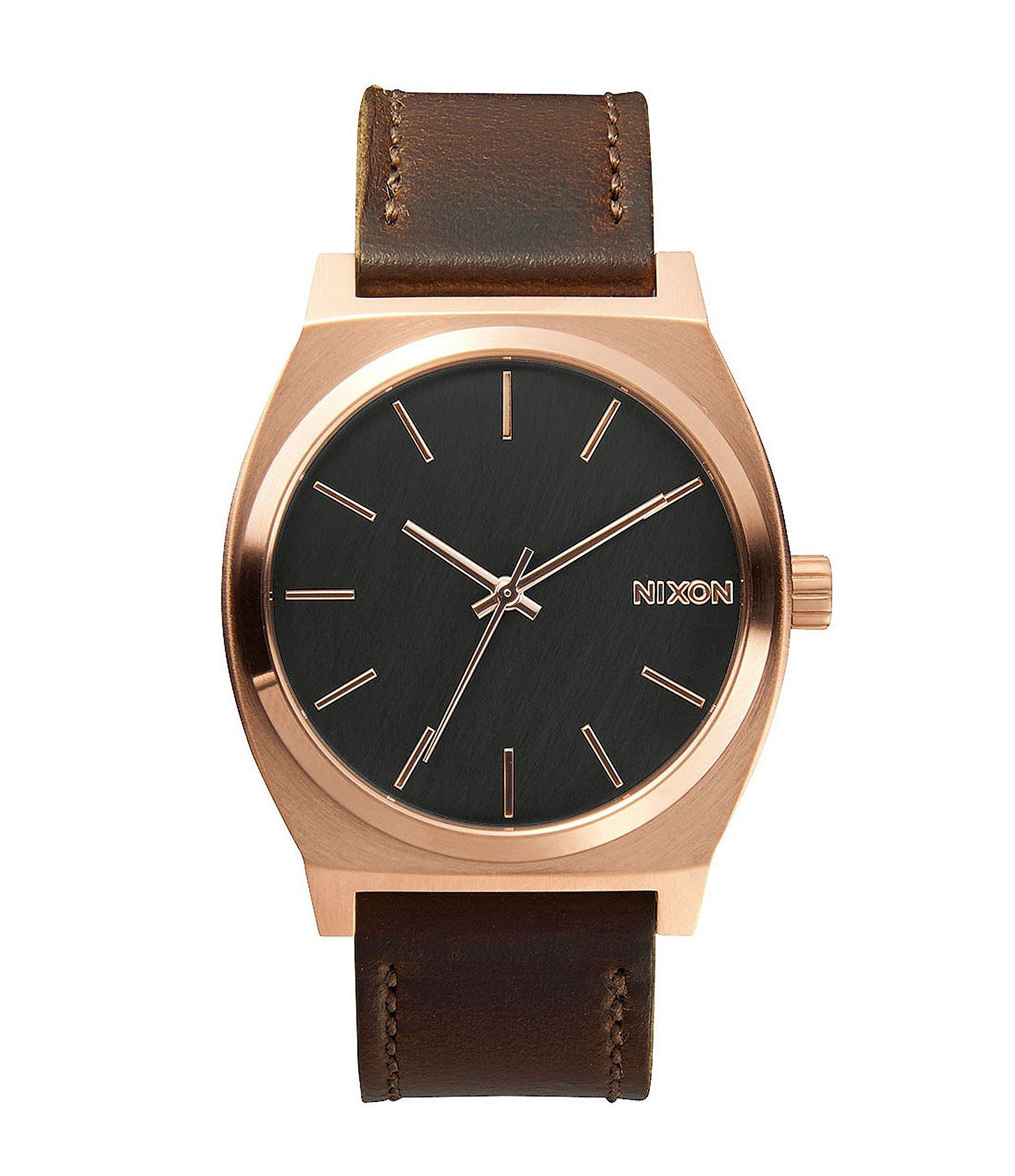 nixon the time teller analog leather stainless steel