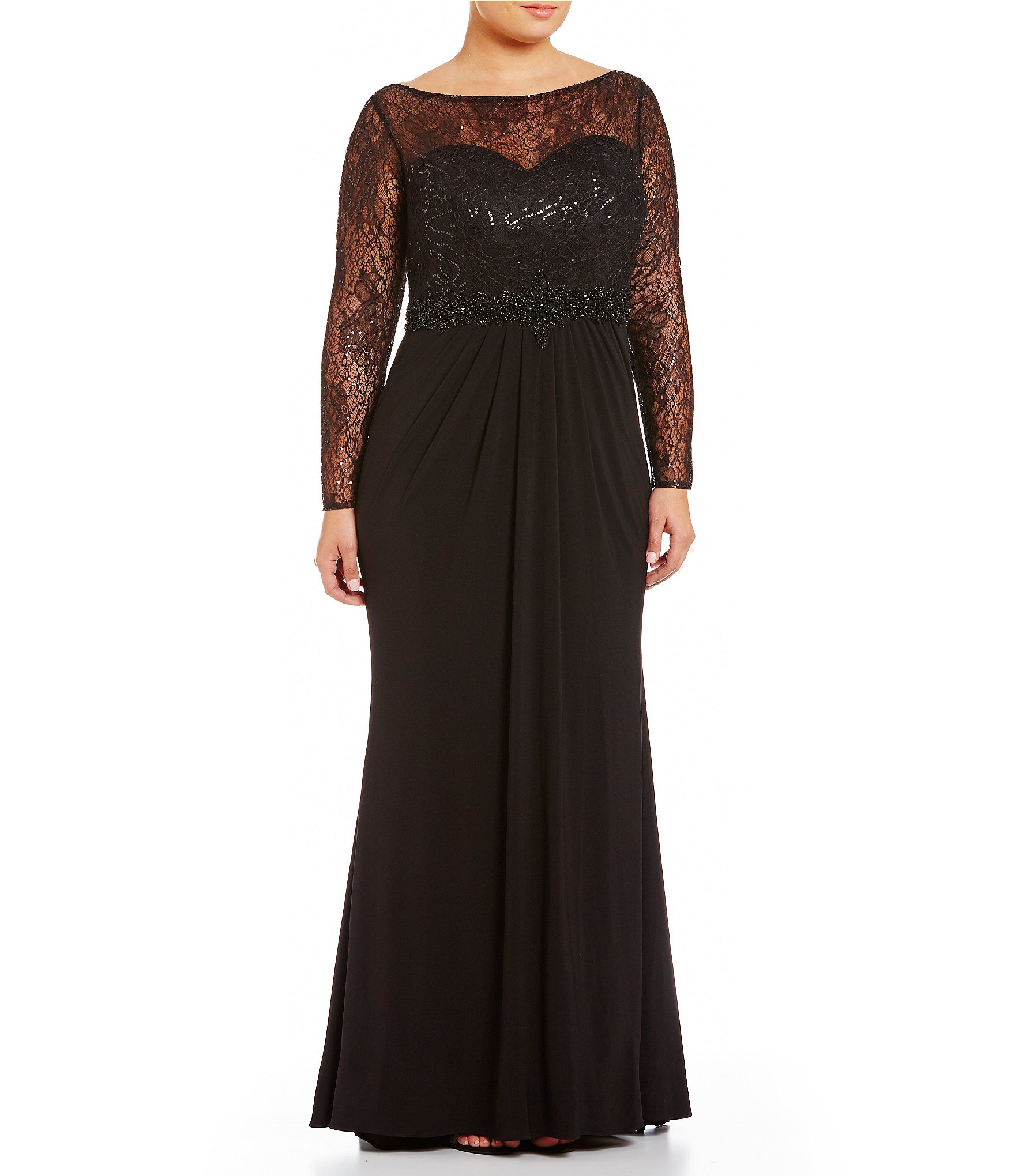 Lyst Mac Duggal Plus Sequin Lace Gown In Black