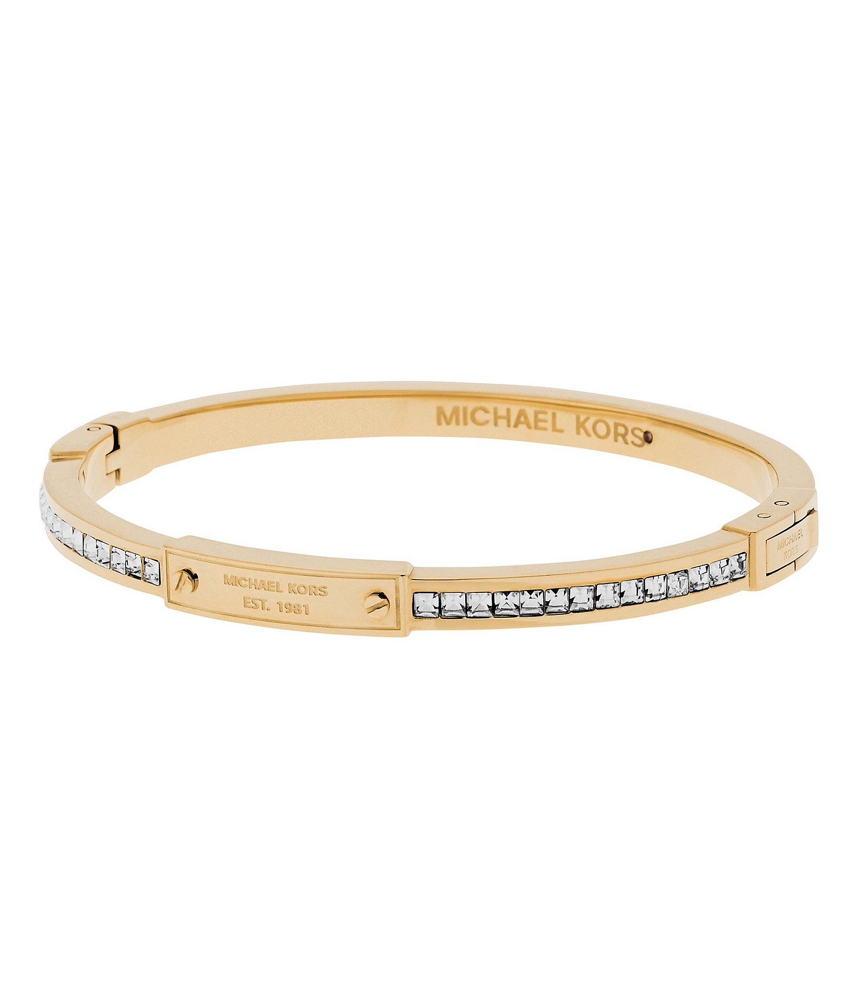 michael kors baguette crystal bangle bracelet in metallic. Black Bedroom Furniture Sets. Home Design Ideas