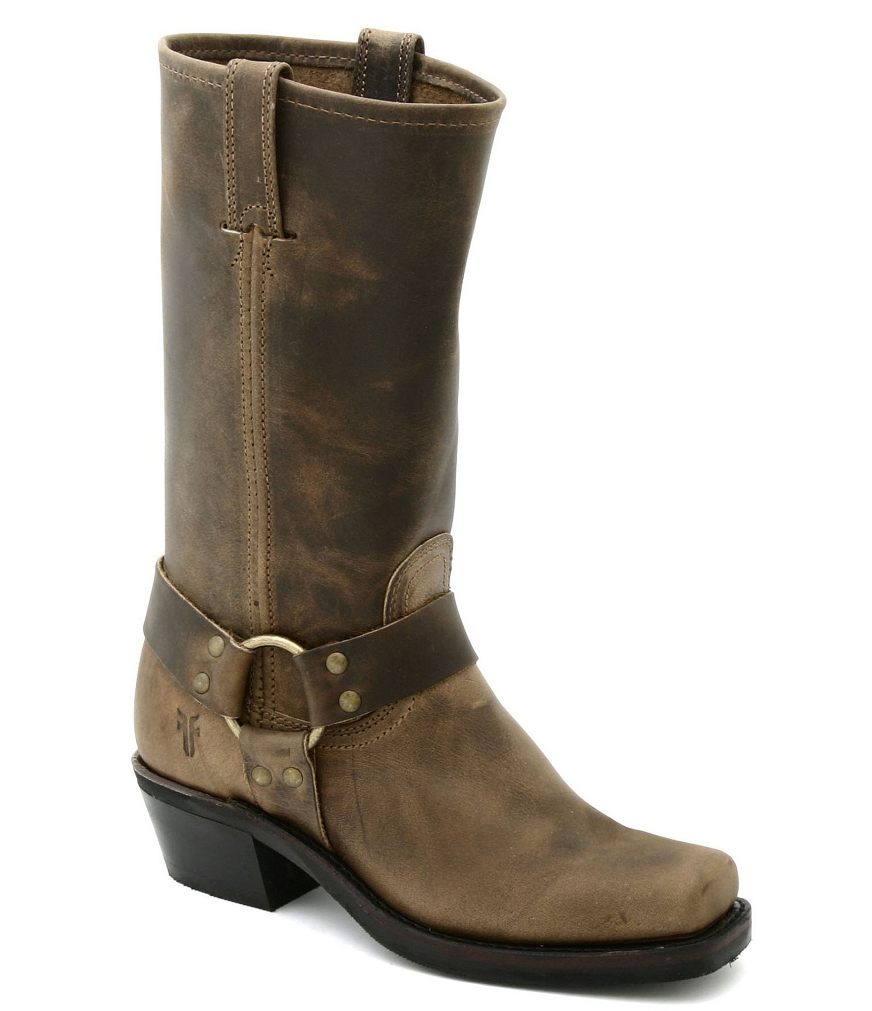 frye harness 12r leather square toe boots in brown lyst