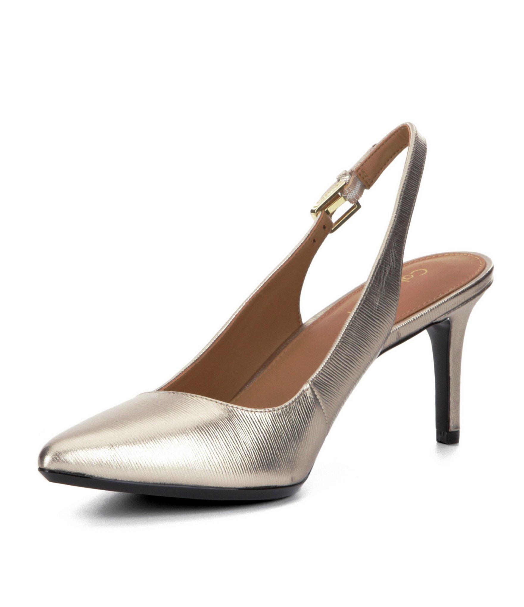 2de7e552b5a Lyst - Calvin Klein Giovanna Metallic Leather Slingback Pumps in ...