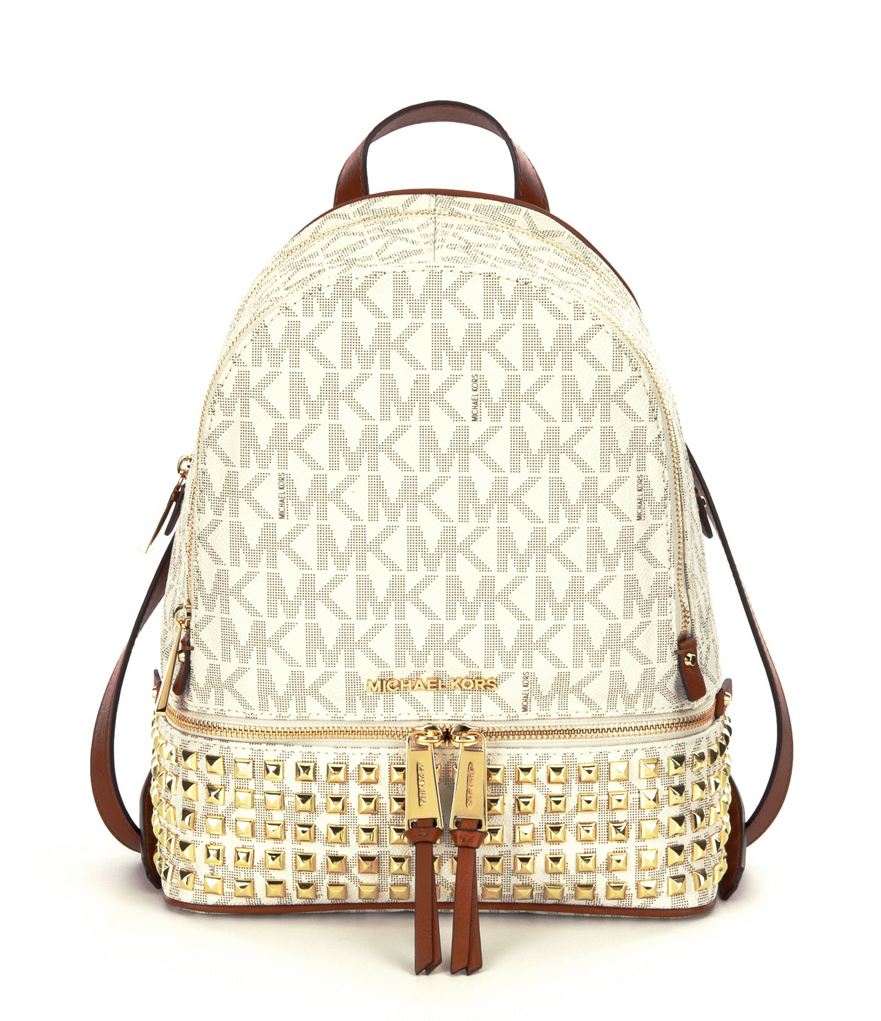 a1ac485429d6 ... cheap lyst michael michael kors rhea signature studded backpack in  brown b2977 f5d83