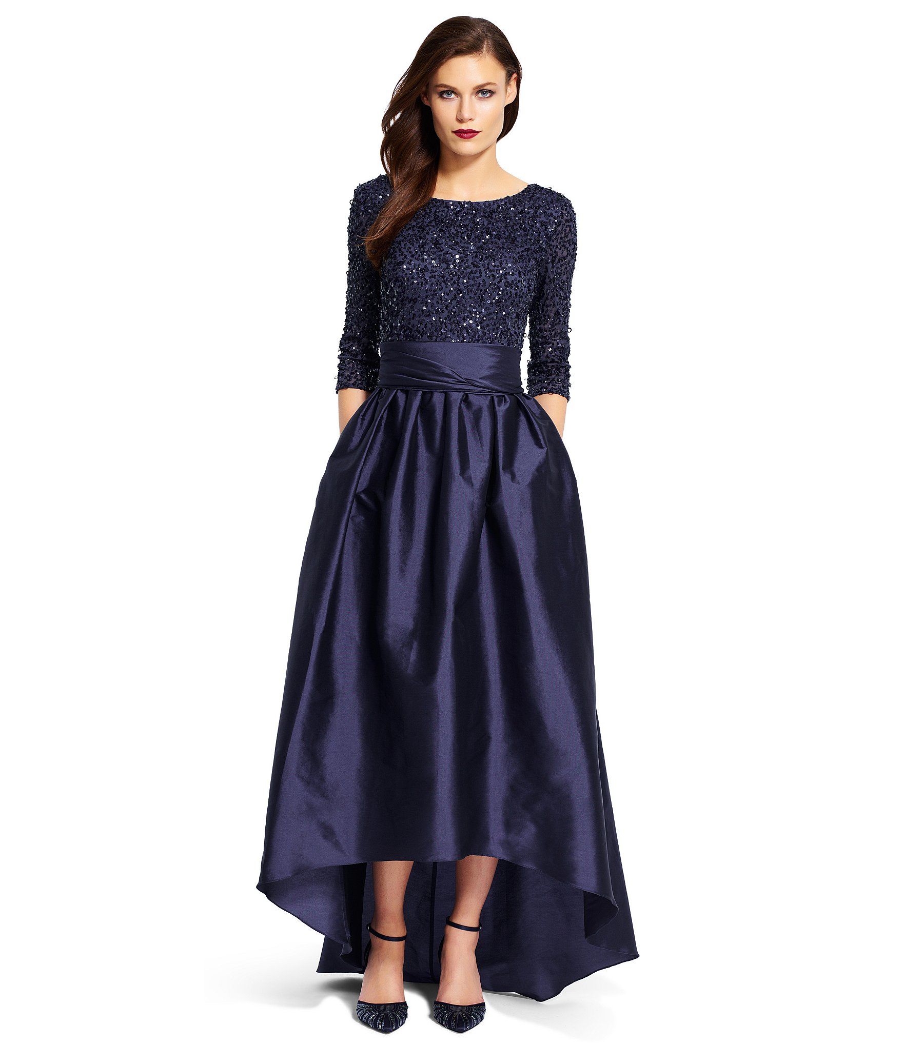 Adrianna papell Beaded Bodice Taffeta Gown in Blue   Lyst