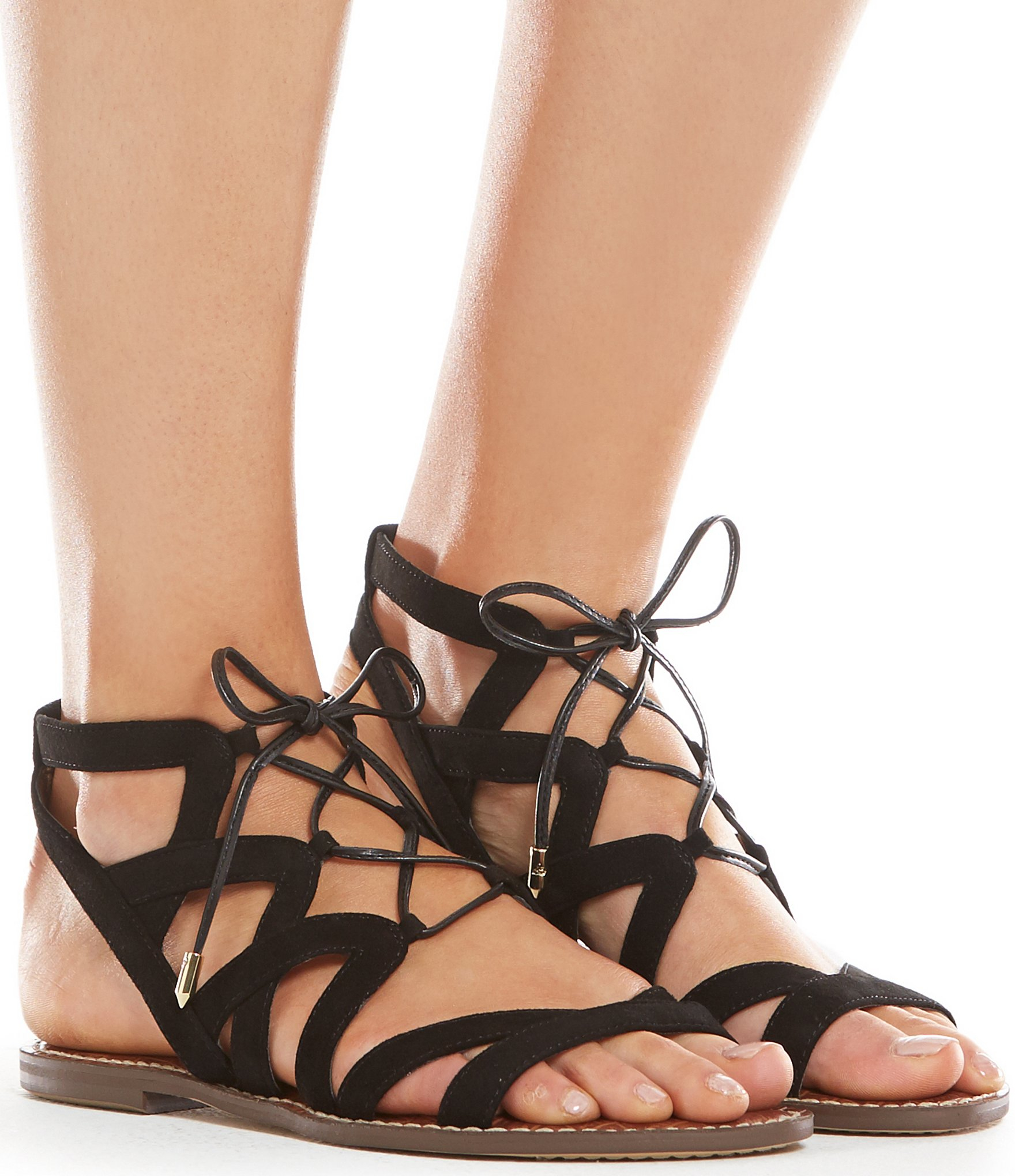 4da50252349 Lyst - Sam Edelman Gemma Lace-up Ghillie Sandals in Black