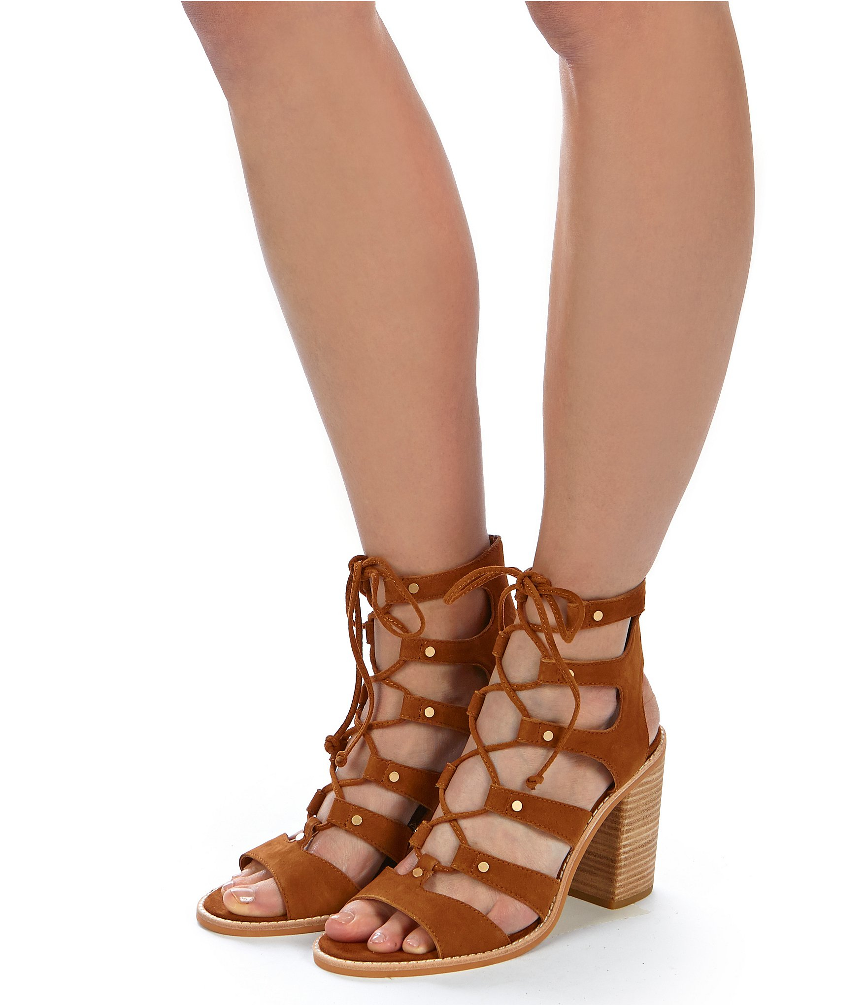 Dolce Vita Lyndon Lace Up Ghillie Sandals In Brown Lyst