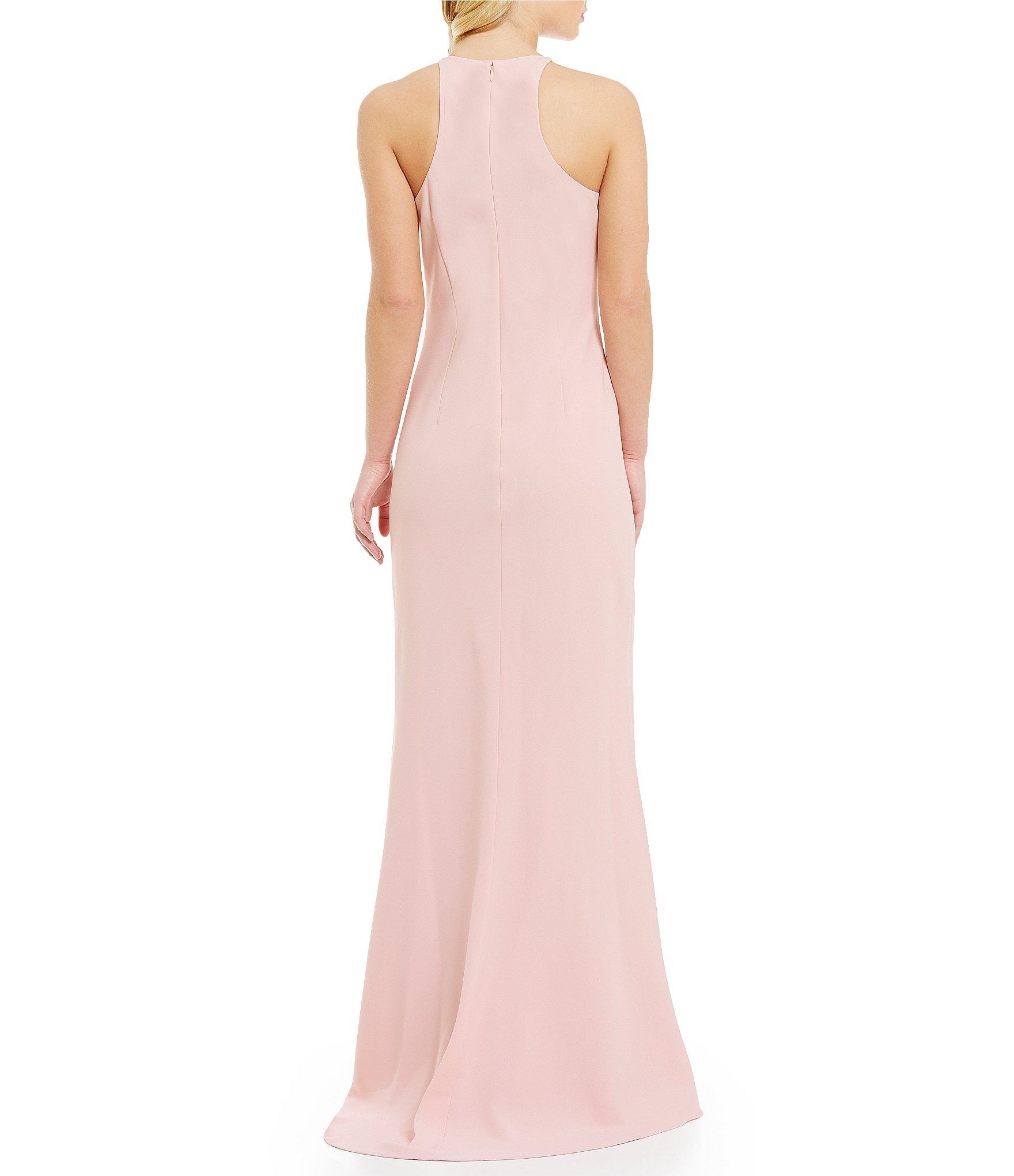 Calvin Klein Crepe Halter Gown In Pink Lyst