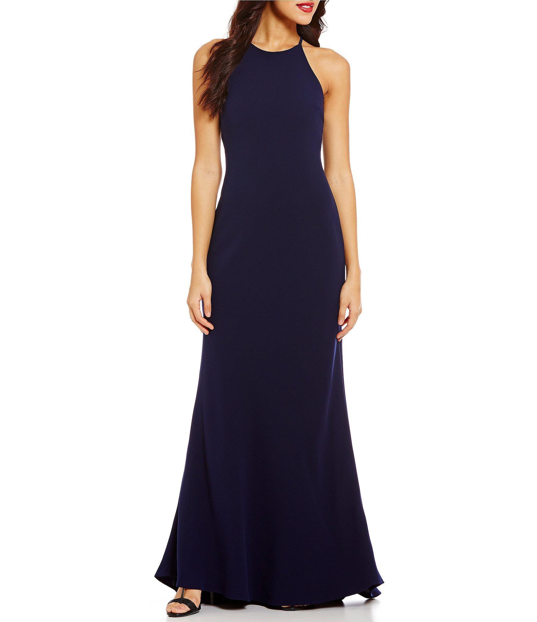 Lyst Calvin Klein Crepe Halter Gown In Blue