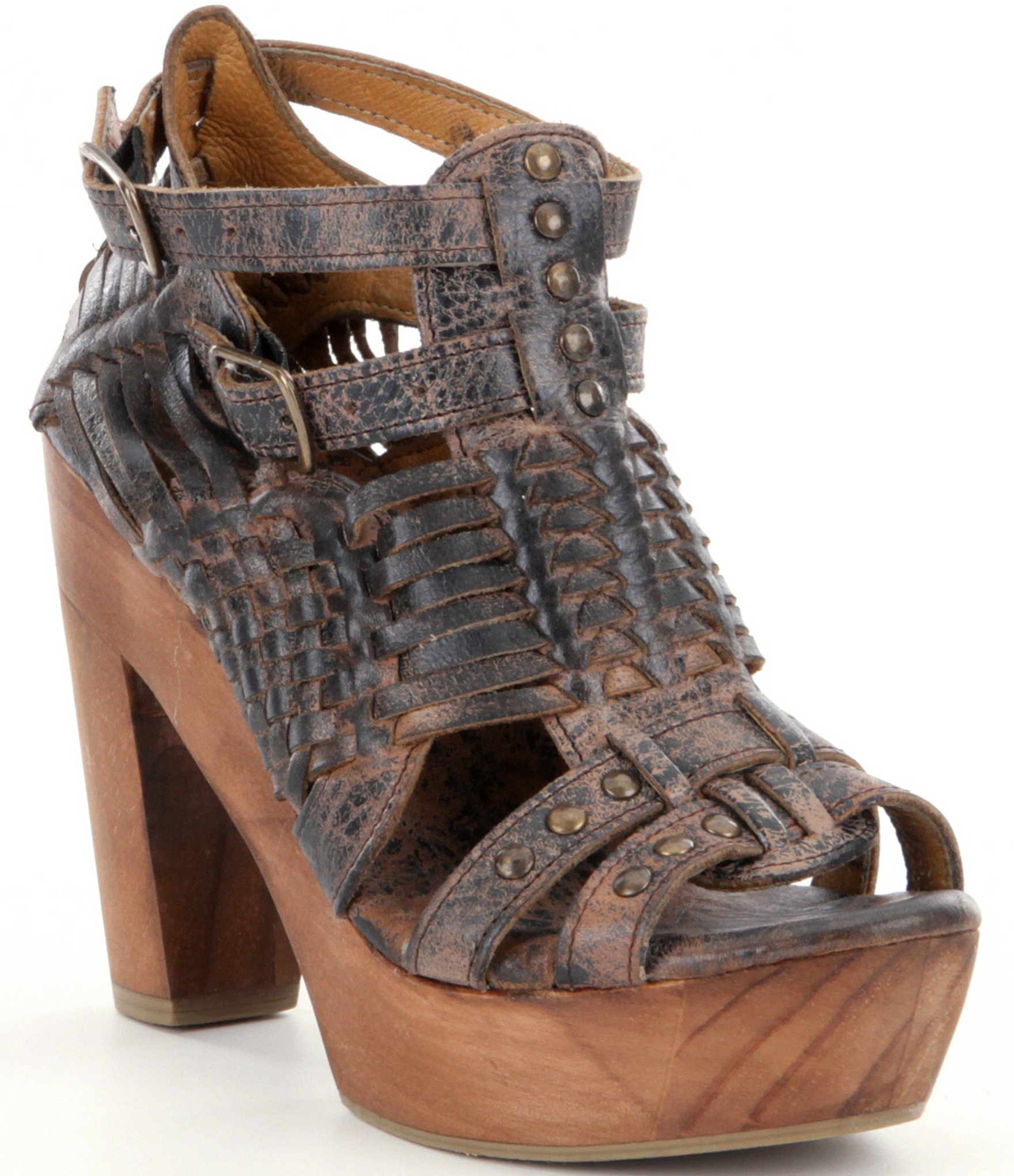Lyst Bed Stu Cindy Woven Leather Platform Sandals In Brown