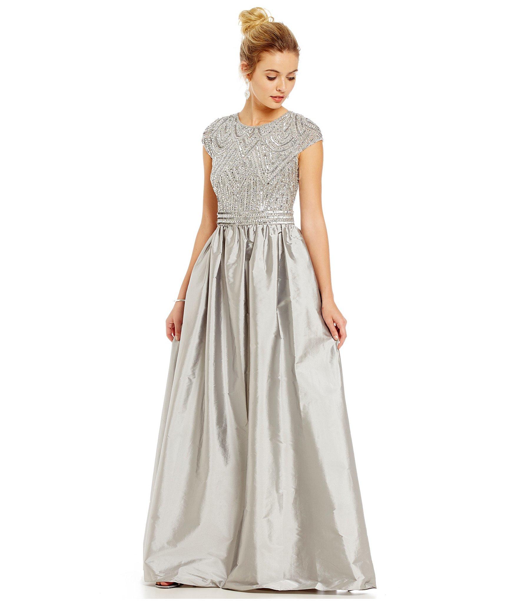db8279c154 Lyst - Adrianna Papell Beaded Bodice Taffeta Skirt Ballgown in Gray