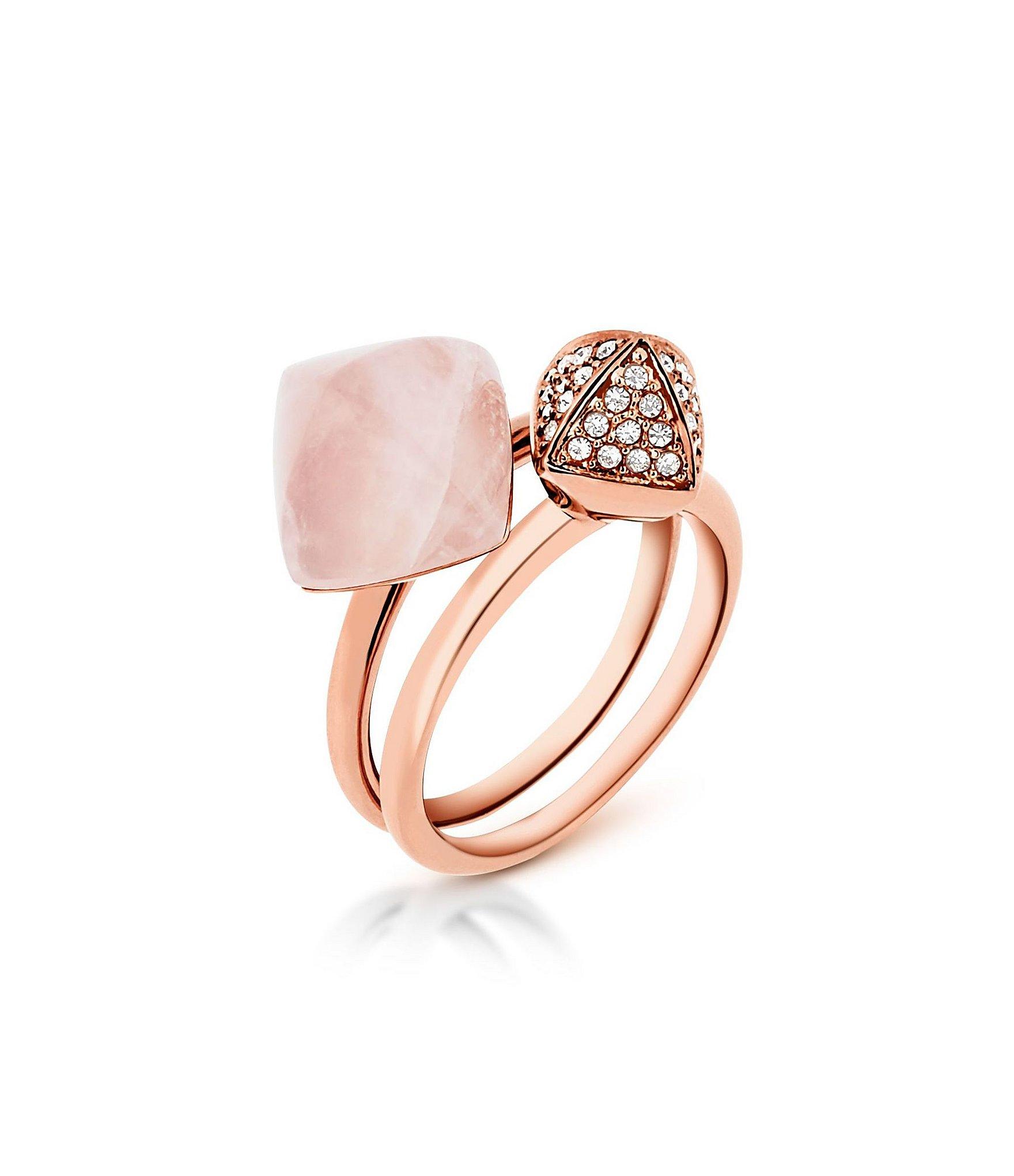 Michael kors Semi precious Rose Quartz Stone Pyramid Stacked Ring