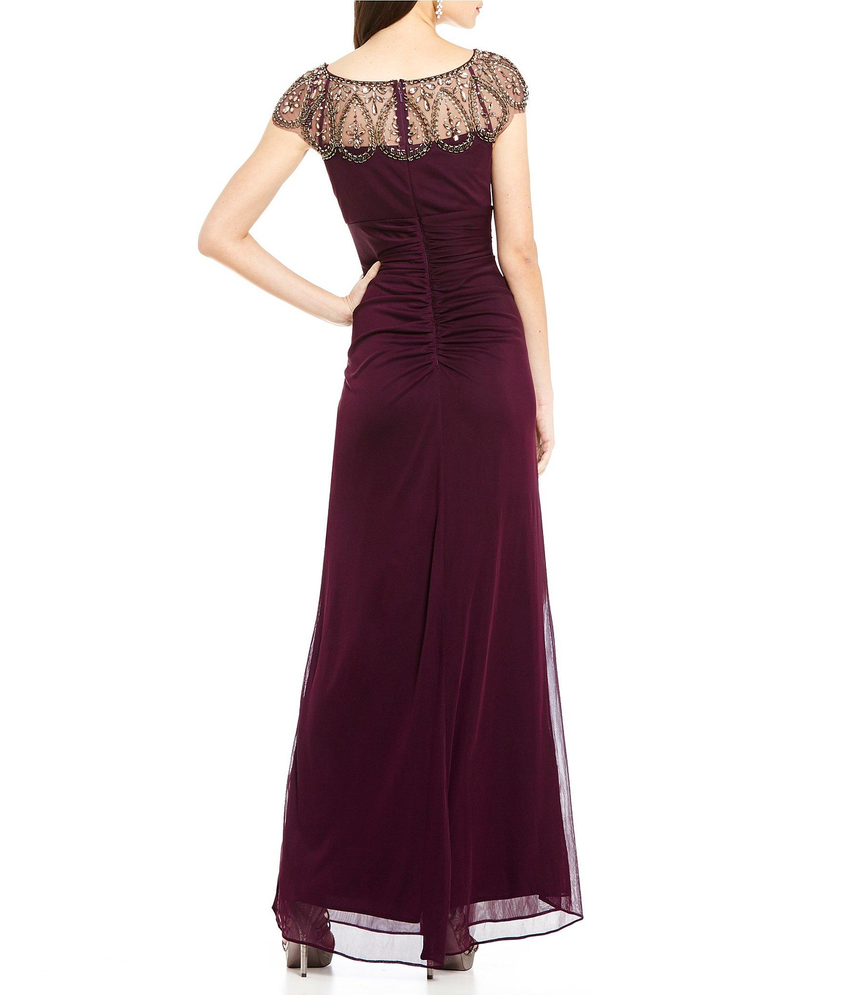 Xscape Beaded Illusion Neck Ruched Gown In Purple Lyst