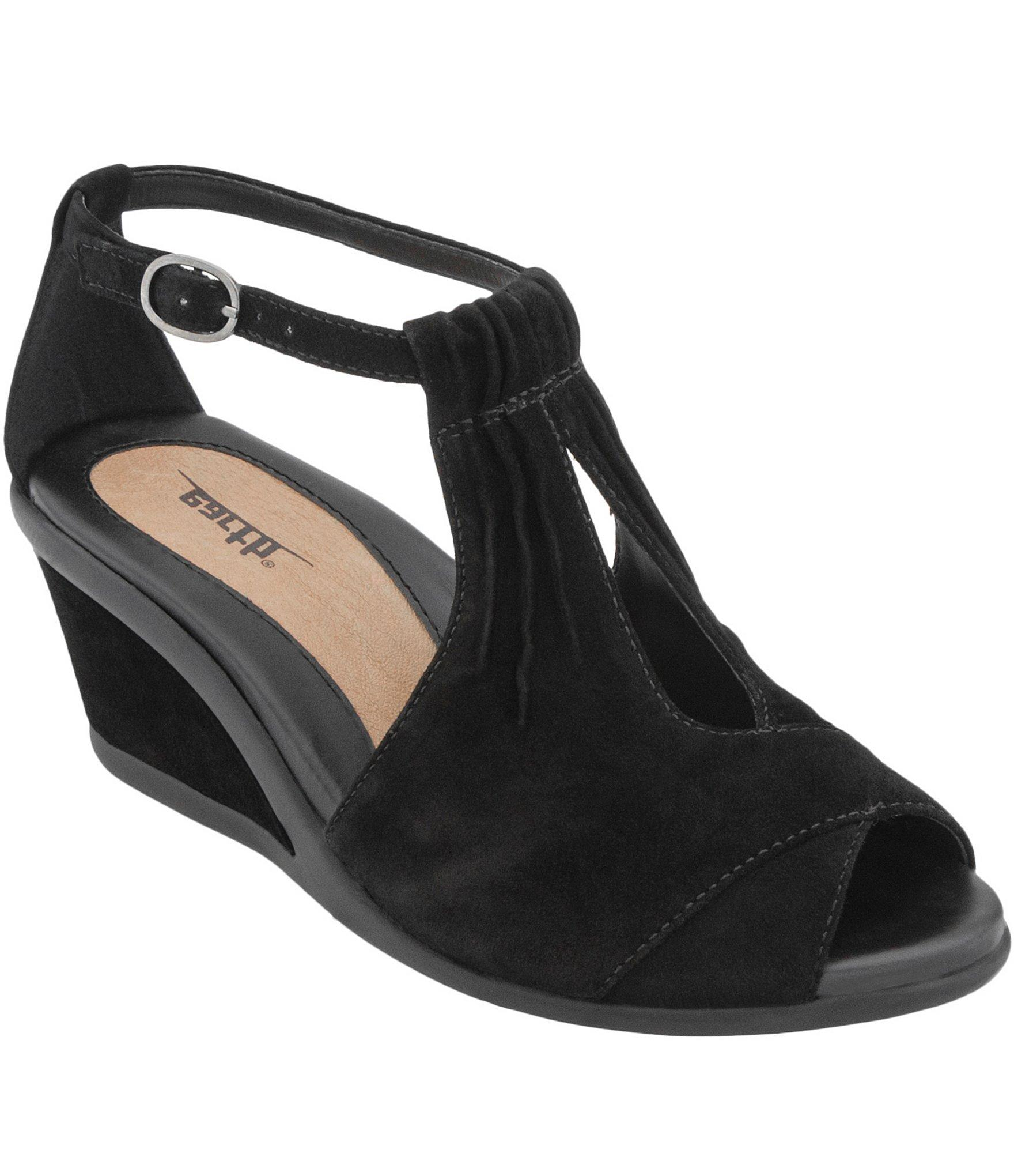 Earth Caper Suede Keyhole Cutout Pleated Ankle Strap Wedge