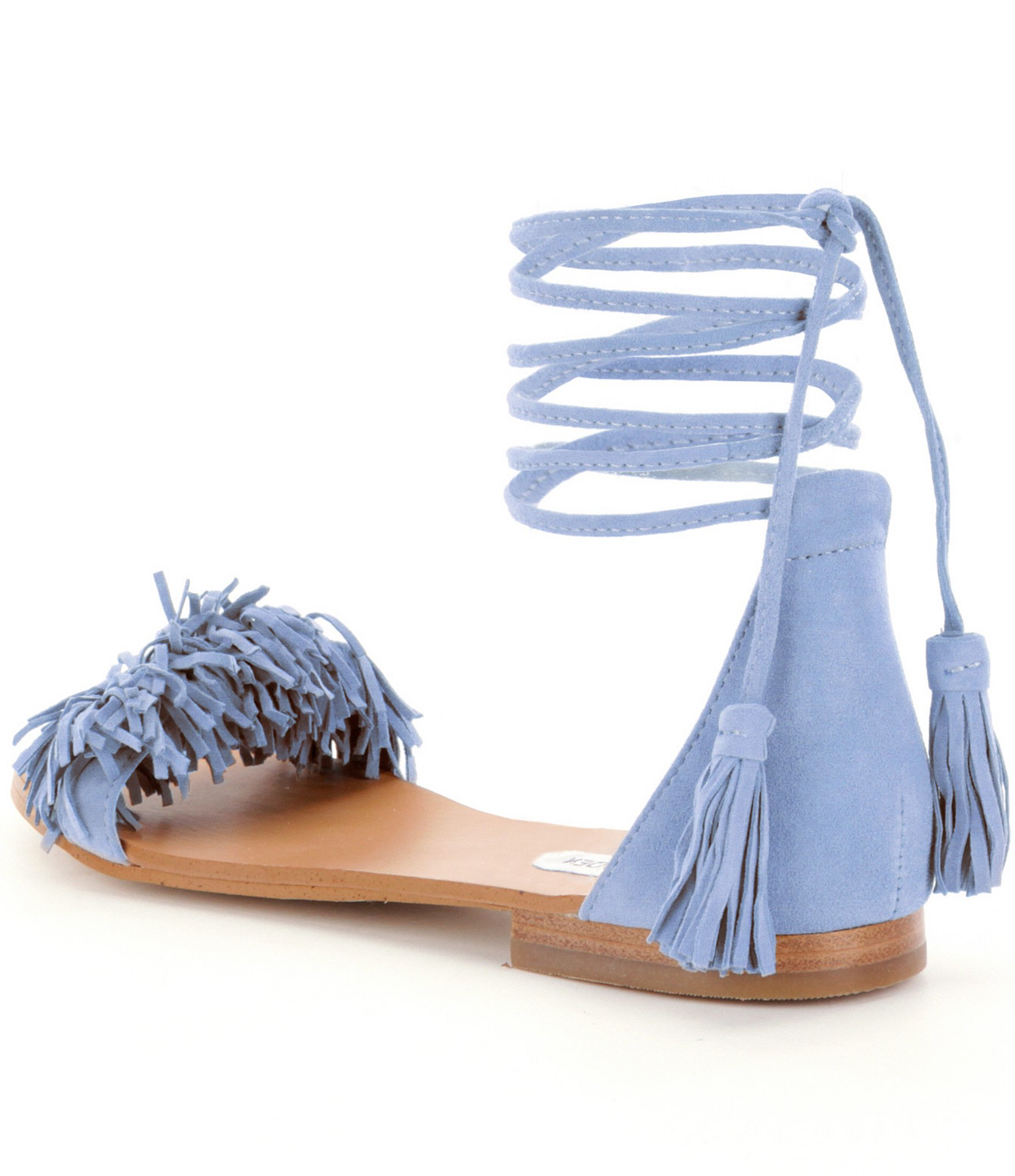 Lyst Steve Madden Sweetyy Lace Up Fringe Sandals In Blue