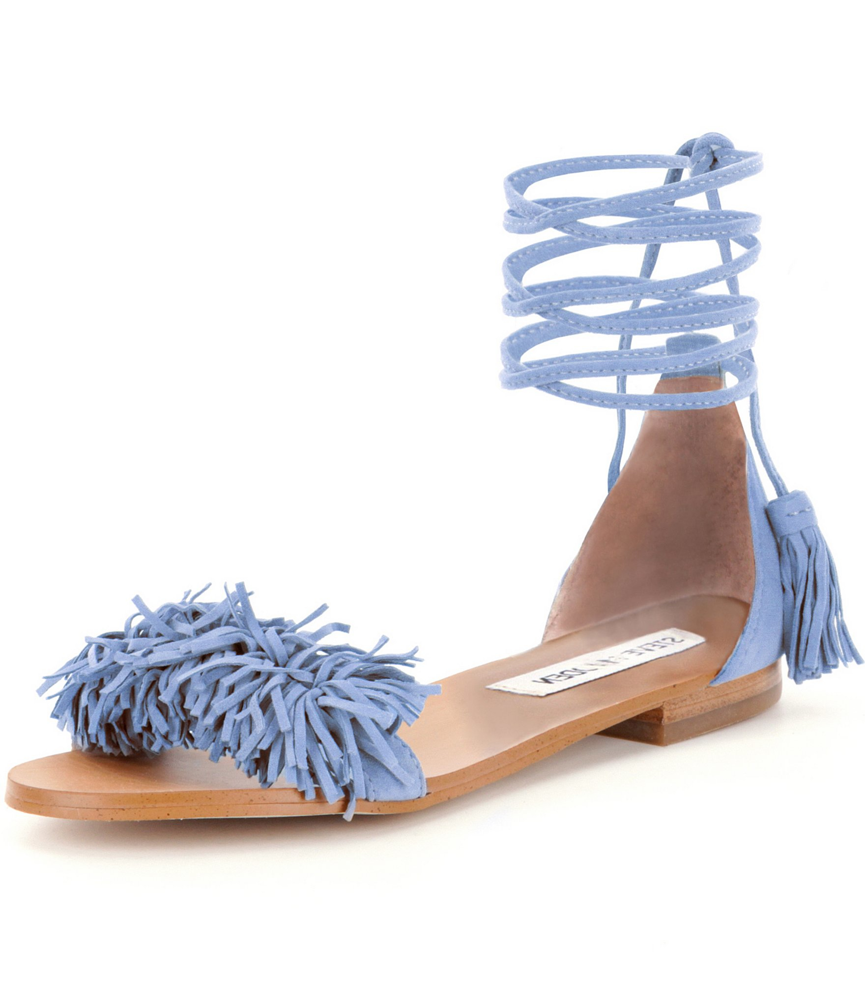 89998db2305 Steve Madden Blue Sweetyy Lace-up Fringe Sandals
