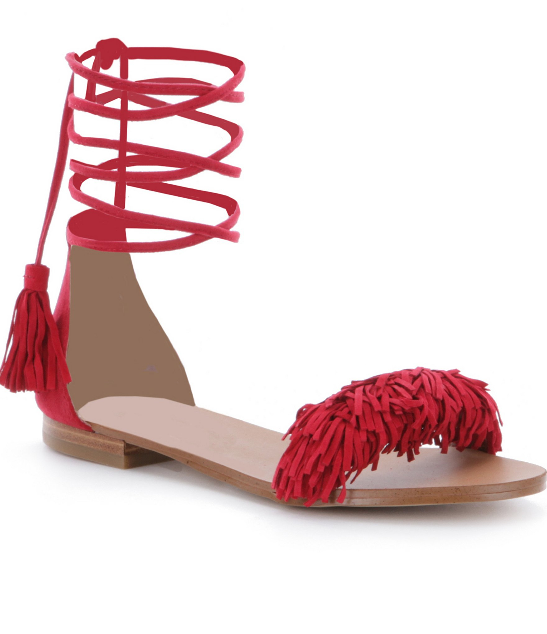 bd8833c61b5 Lyst - Steve Madden Sweetyy Lace-up Fringe Sandals in Red