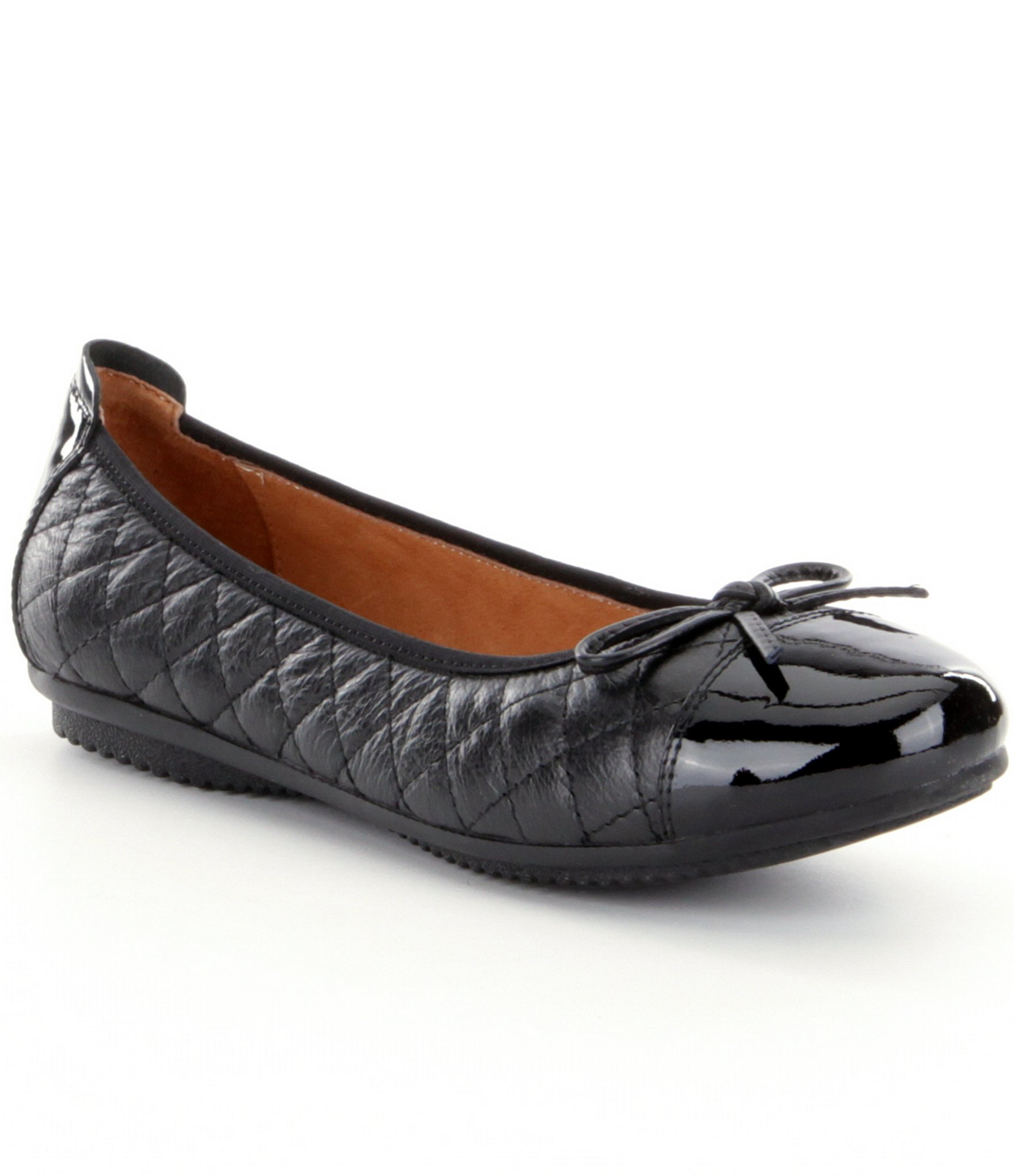 josef seibel pippa 25 quilted leather bow detail ballet flats in black lyst. Black Bedroom Furniture Sets. Home Design Ideas