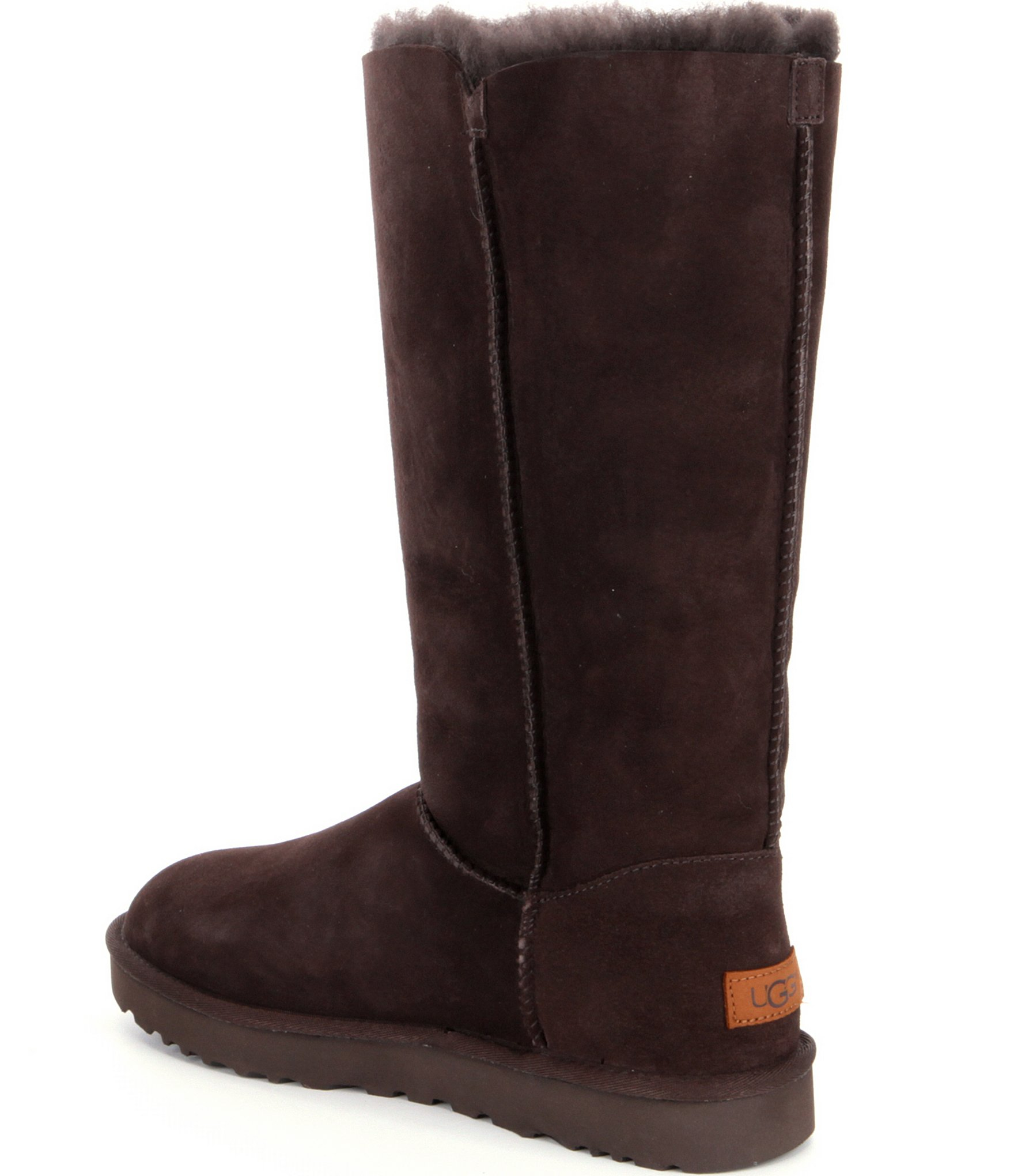 Ugg Suede 174 Bailey Button Triplet Ii Boots In Chocolate