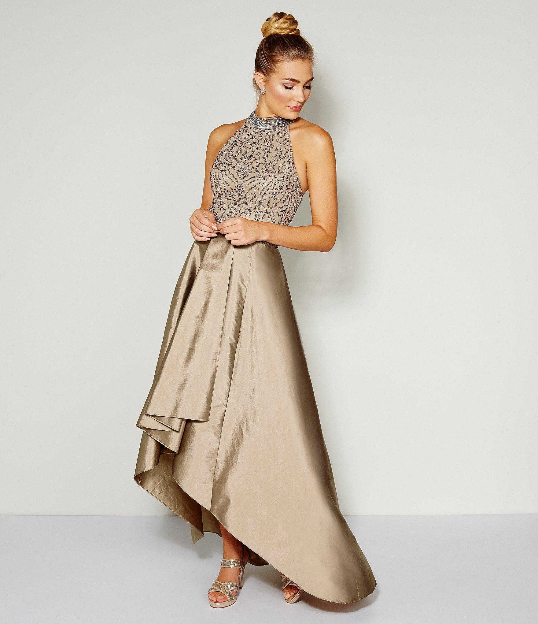 4d9012d58df Adrianna Papell Beaded Halter Hi-low Gown in Metallic - Lyst