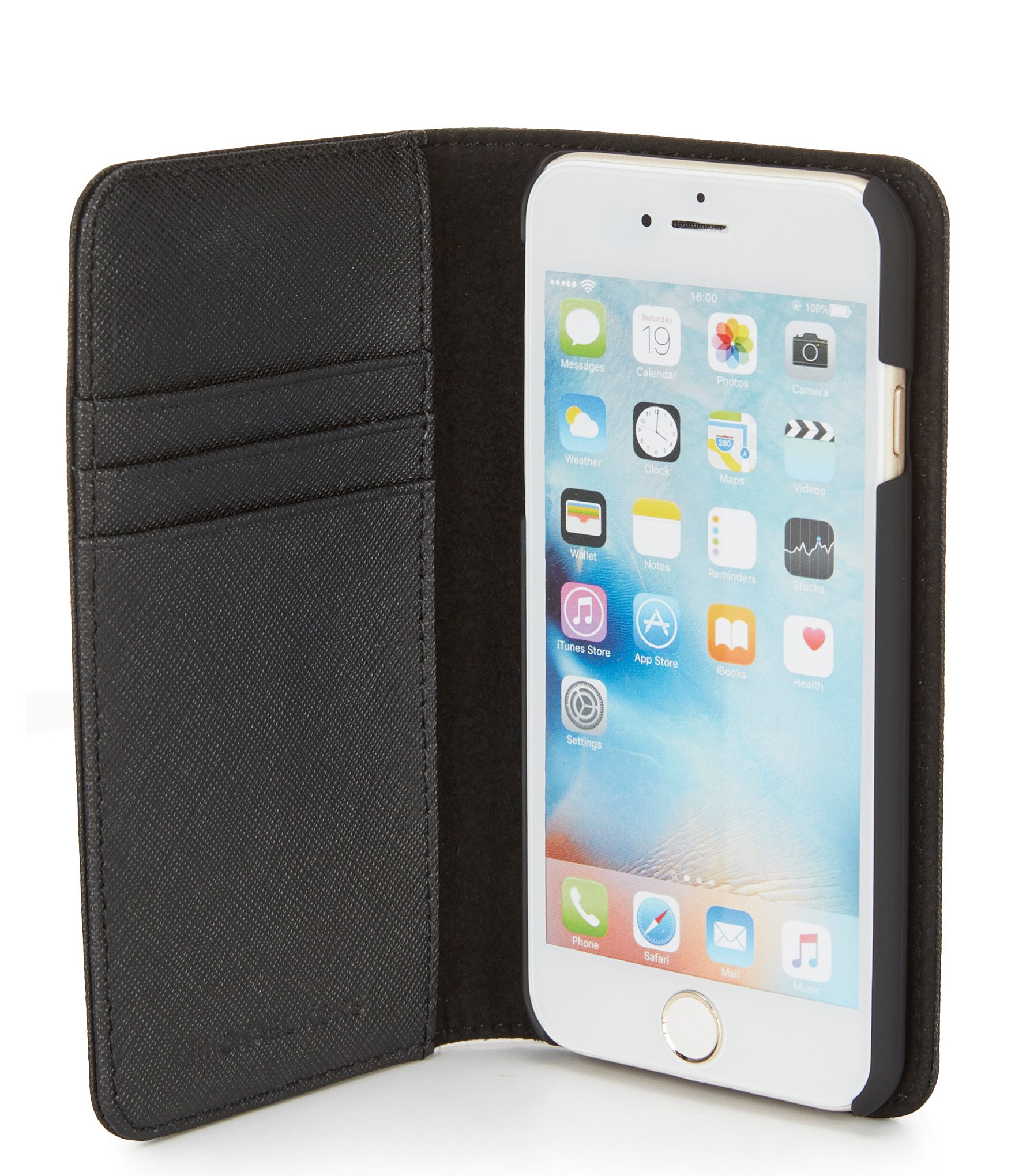 Michael michael kors leather folio iphone 6 case in black for Housse iphone 6 michael kors