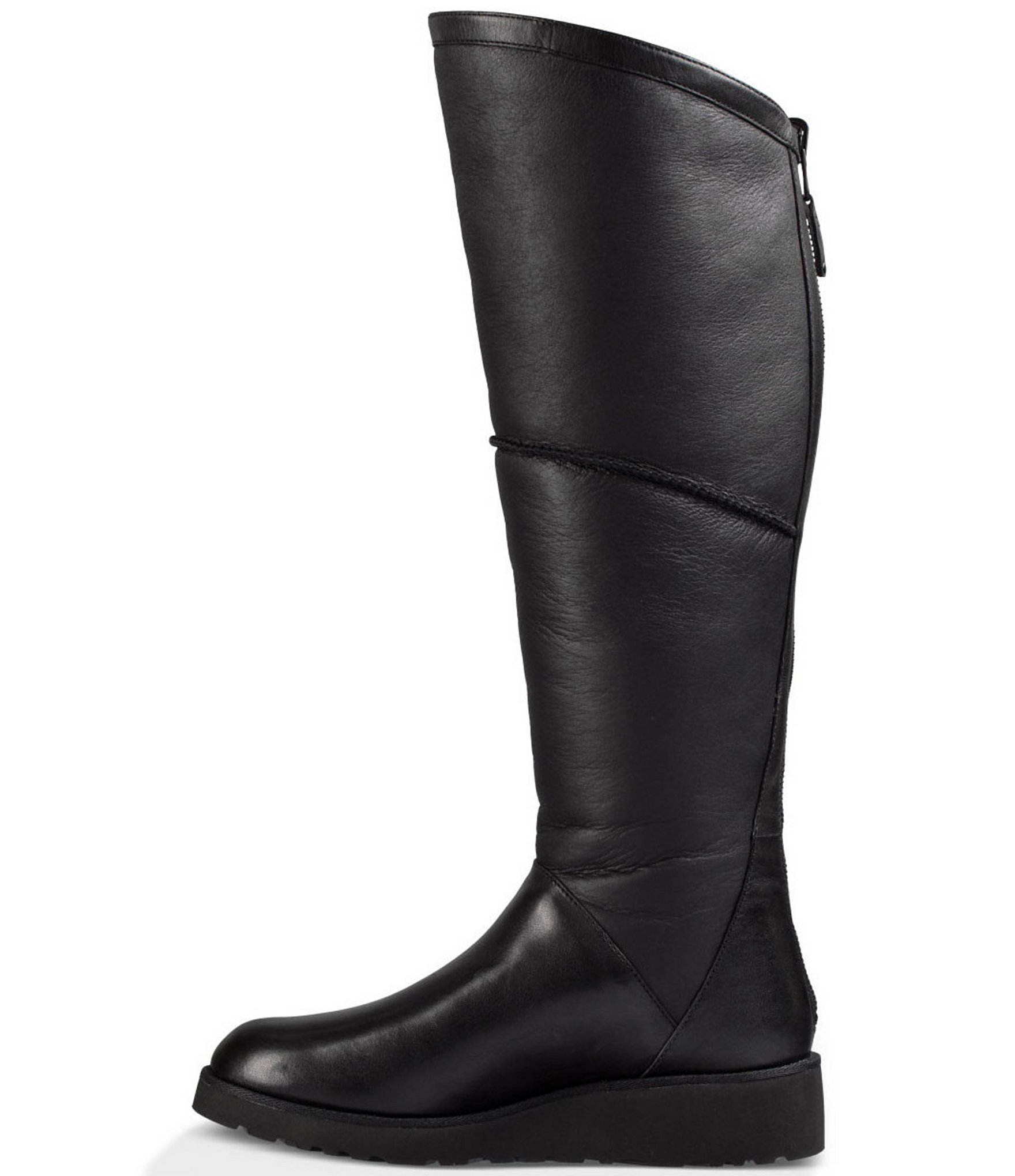 Lyst Ugg Kendi Sheepskin And Leather Wedge Tall Boots In