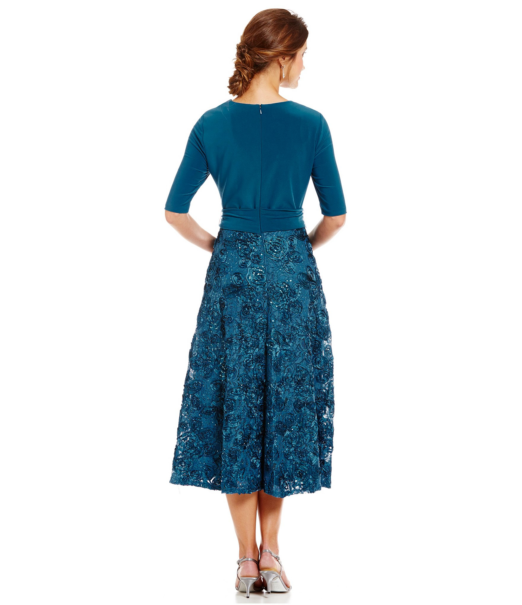 Alex Evenings Tea Length Rosette Skirt Party Dress In Blue