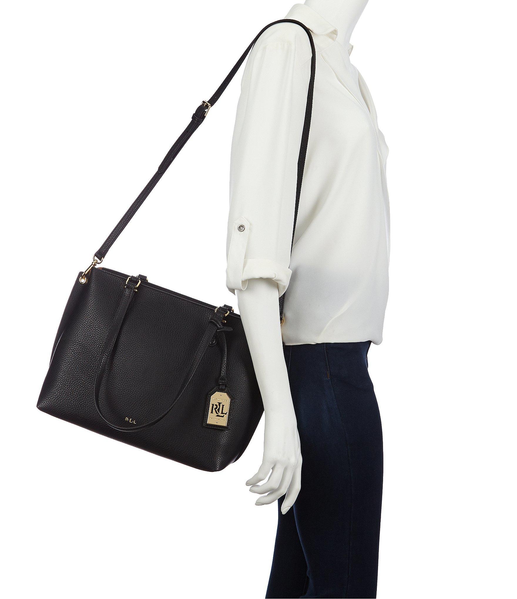 Lyst - Lauren by Ralph Lauren Anfield Medium Abby Shopper Tote in Black fe3a5d4467