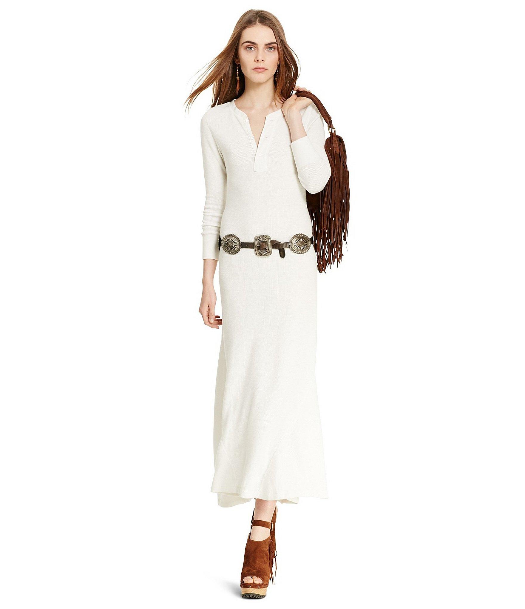 469f95b6f6b Polo Ralph Lauren Waffle-knit Henley Maxi Dress in White - Lyst