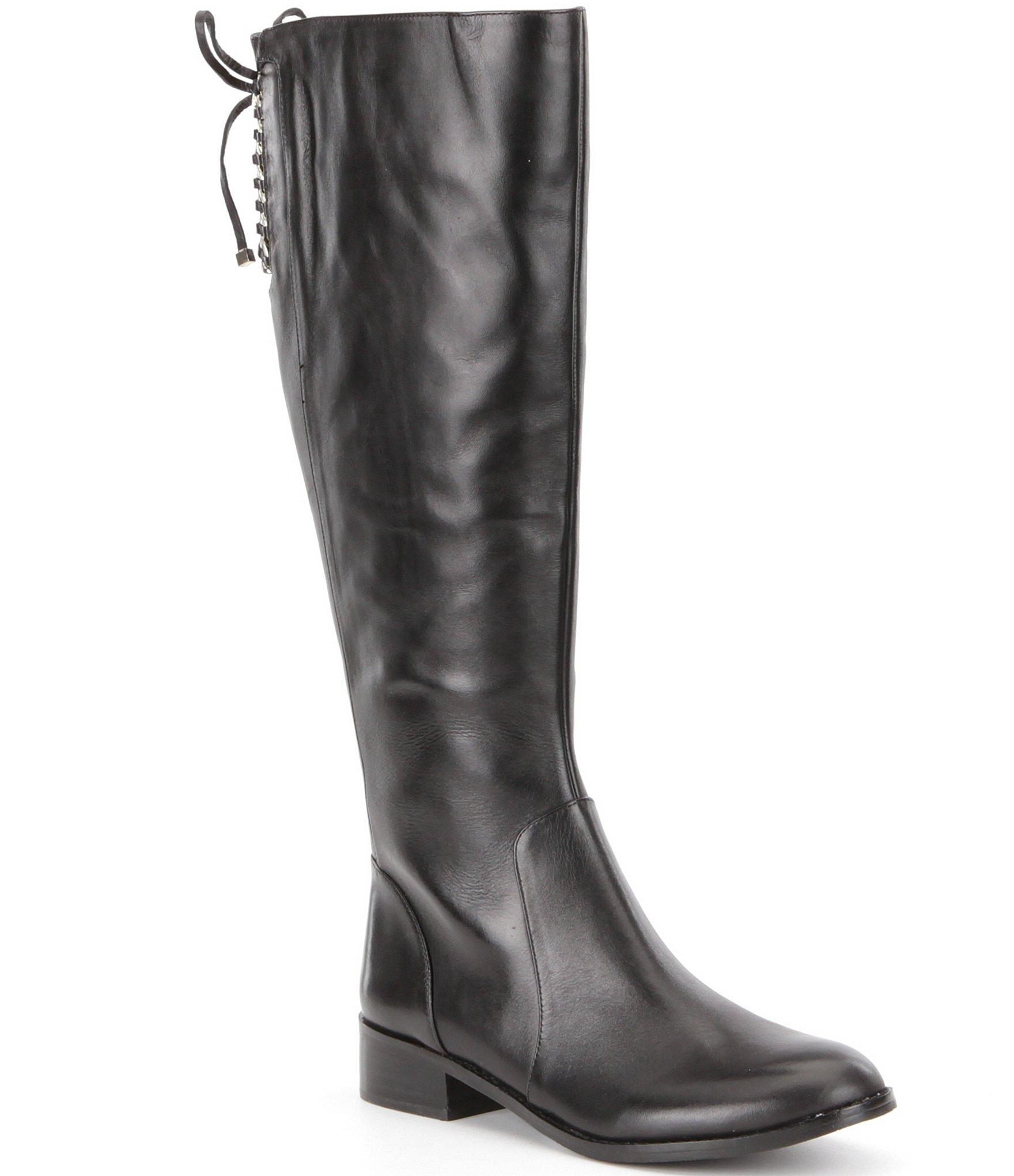 Antonio Melani Eastyns Leather Lace Up Detail Wide Calf