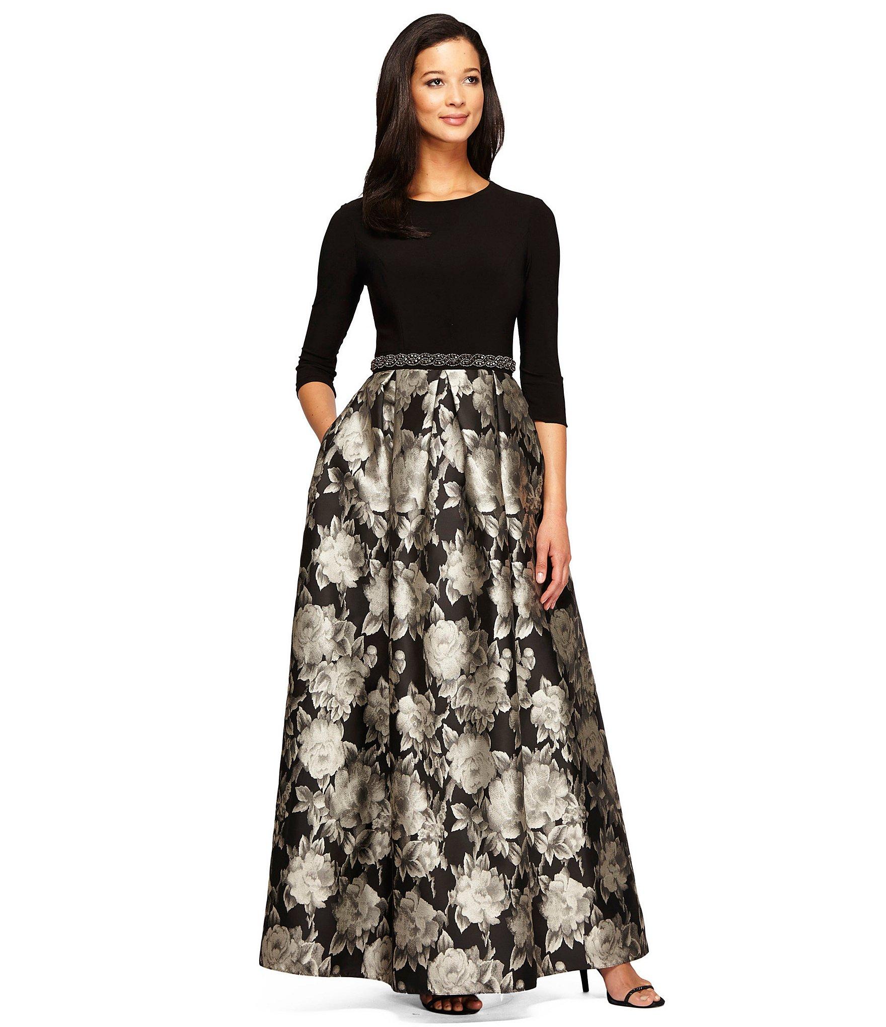 Lyst - Alex Evenings 3/4 Sleeve Beaded Waist Floral Ballgown in Black