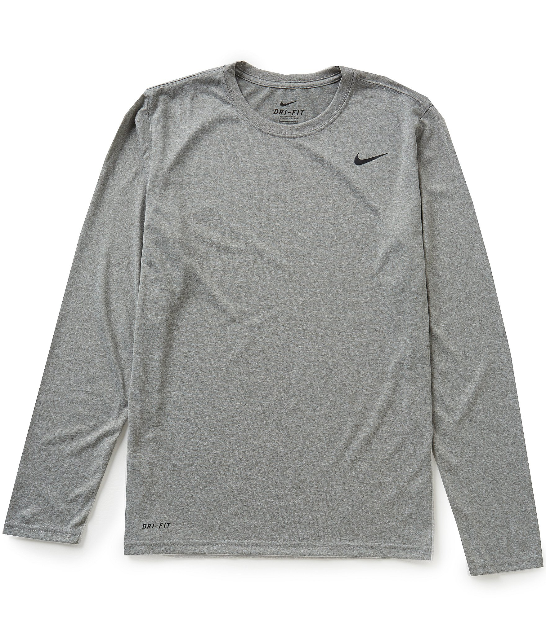 Nike long sleeve dri fit legend training tee in gray for for Under armour dri fit long sleeve shirts