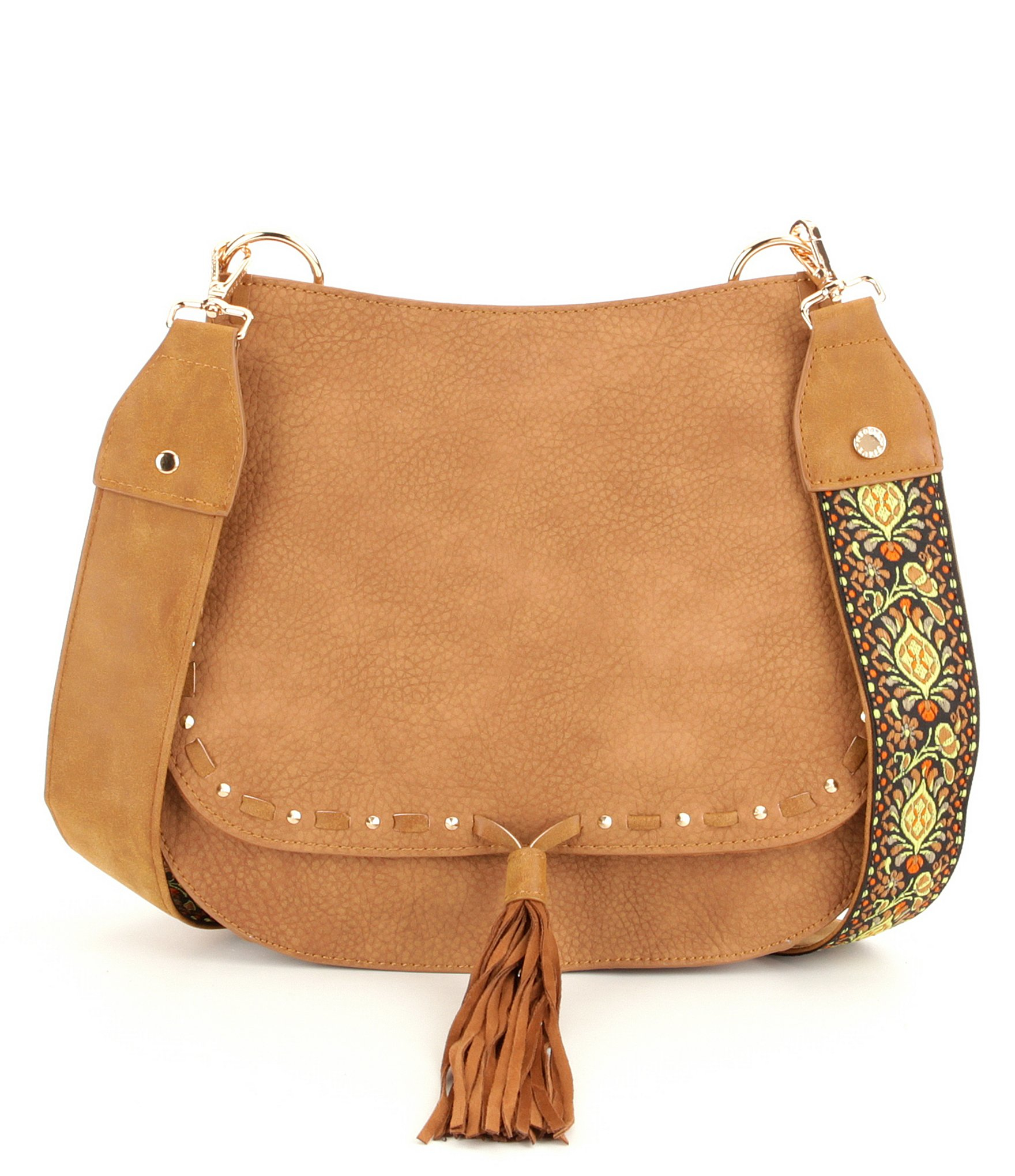 be3e4251892 Steve Madden Brown Swiss Tasseled Saddle Bag With Embroidered Guitar Strap