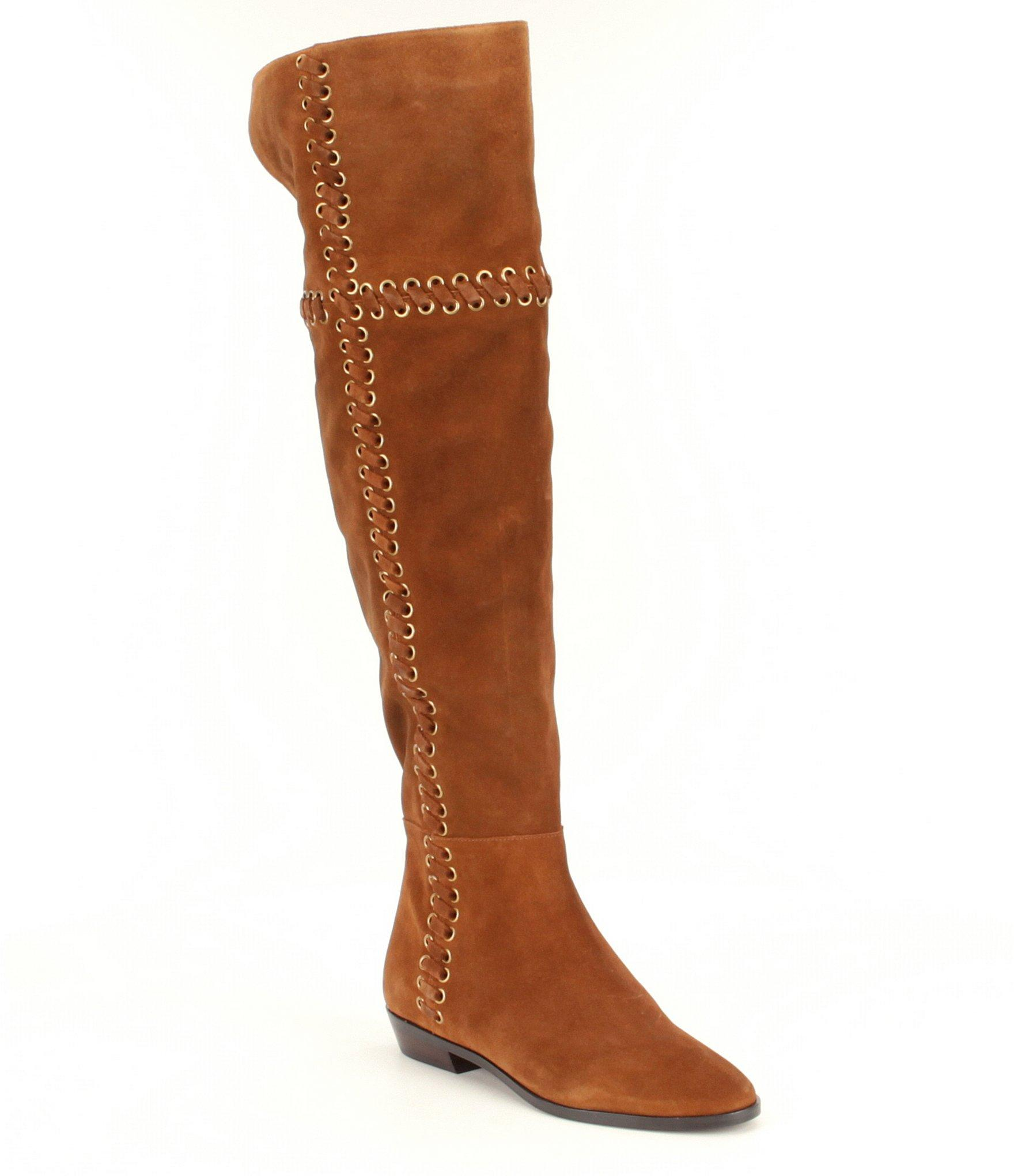michael kors malin grommet suede boot in brown lyst