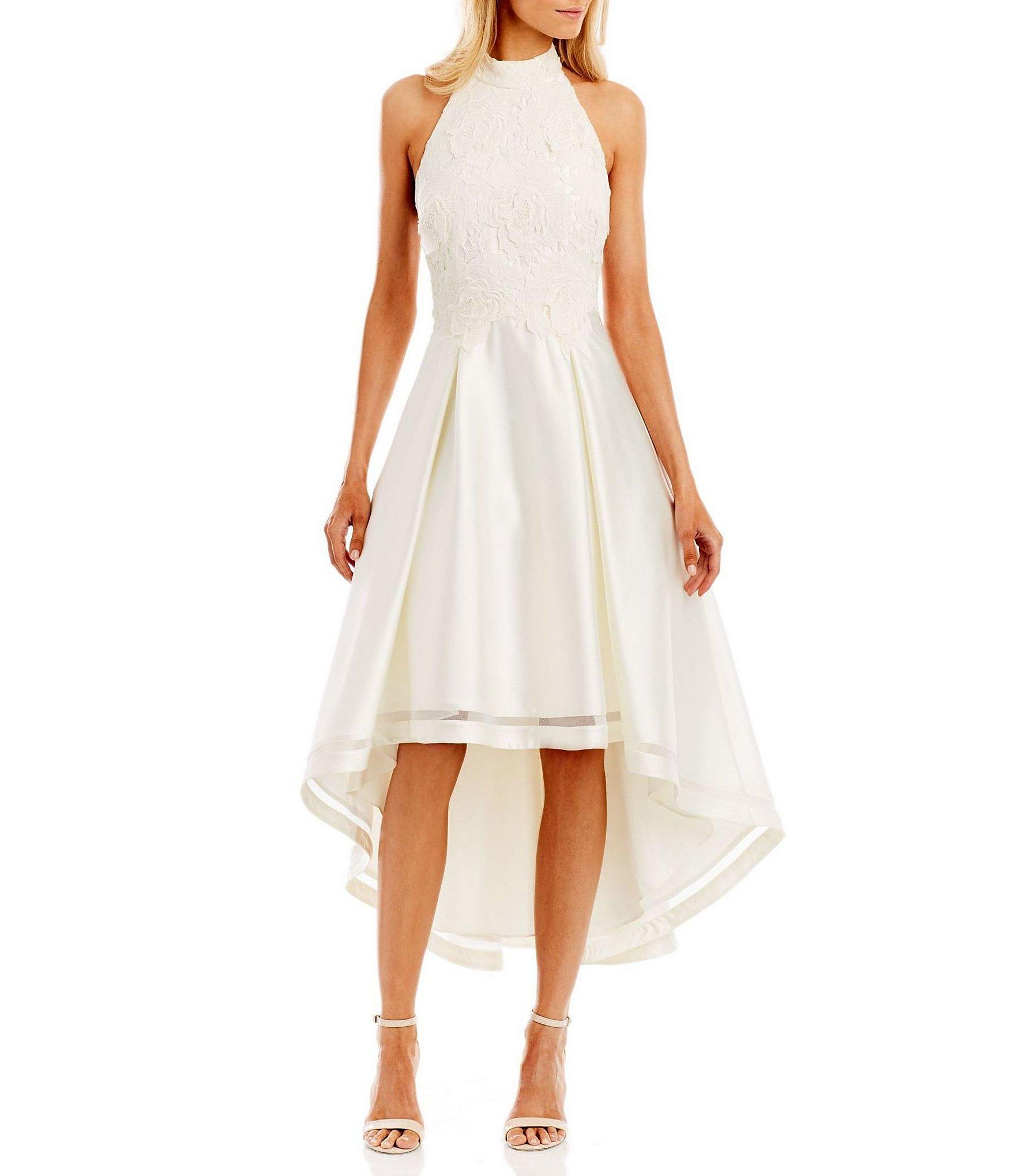 Nicole Miller Embroidered Bodice Satin Hi Low Mock Neck Dress In White Save 2 Lyst