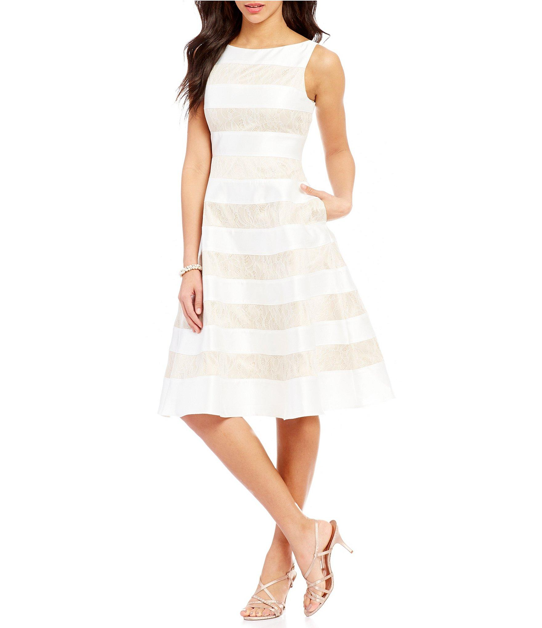 Adrianna Papell Mikado Fit And Flare Striped Lace Midi