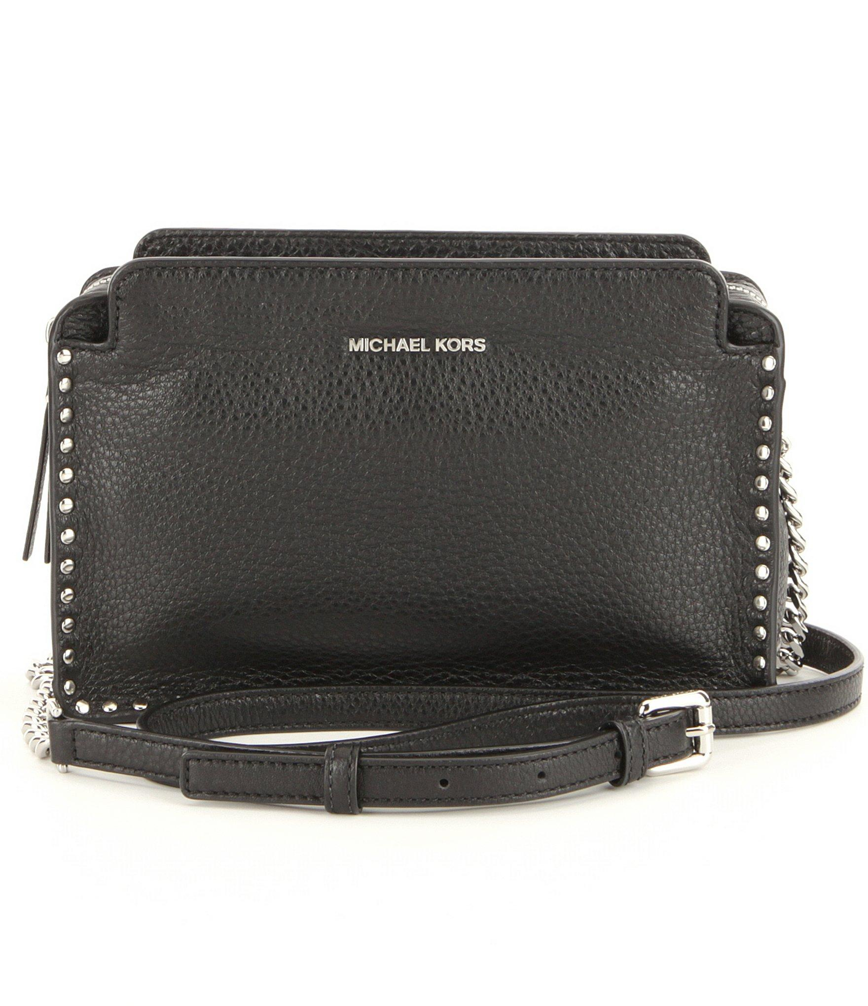 0b7f71ae6e705 Lyst - MICHAEL Michael Kors Astor Large Studded Cross-body Bag in Black