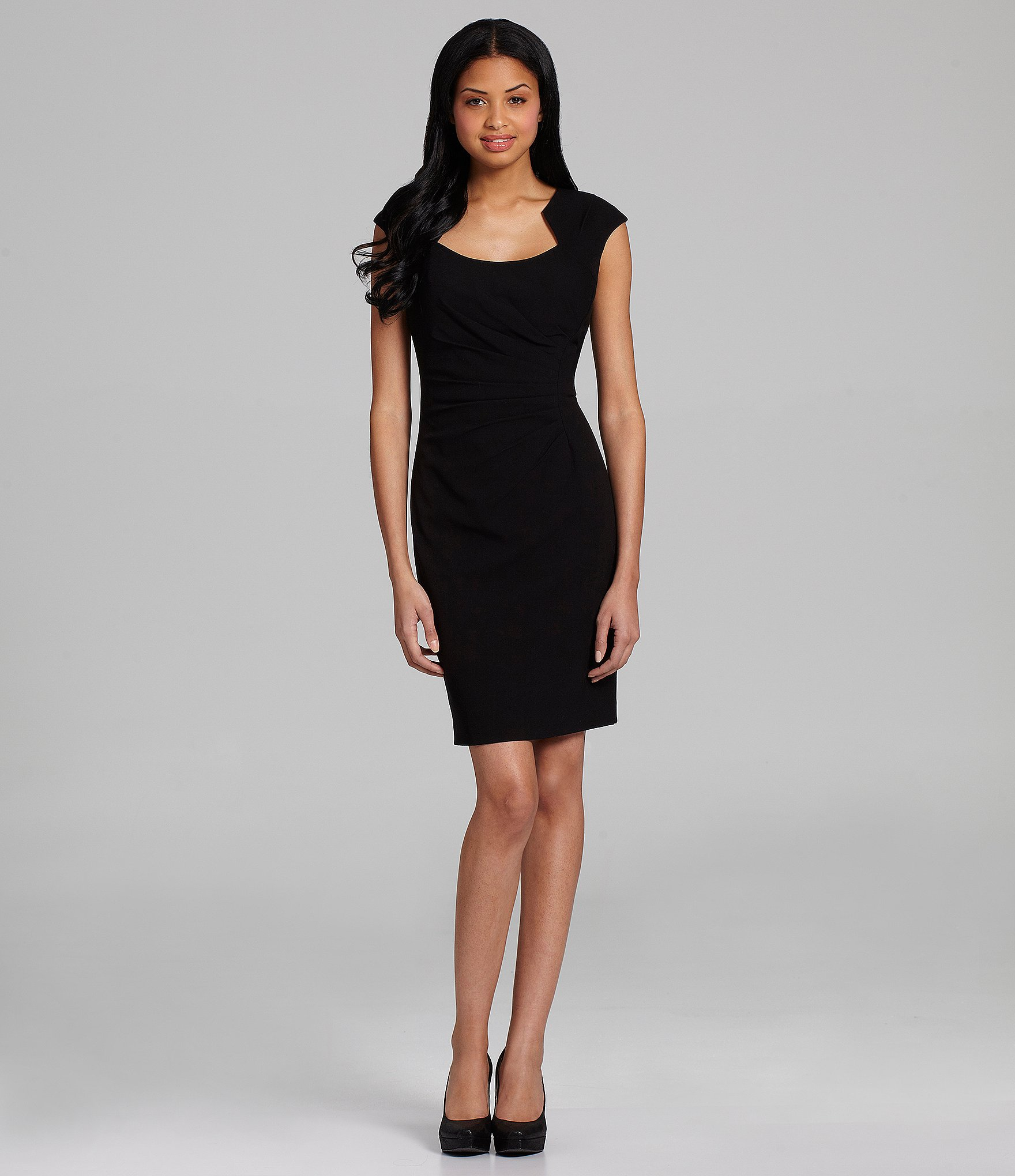 Calvin Klein Petite Horseshoe-neck Sheath Dress In Black | Lyst