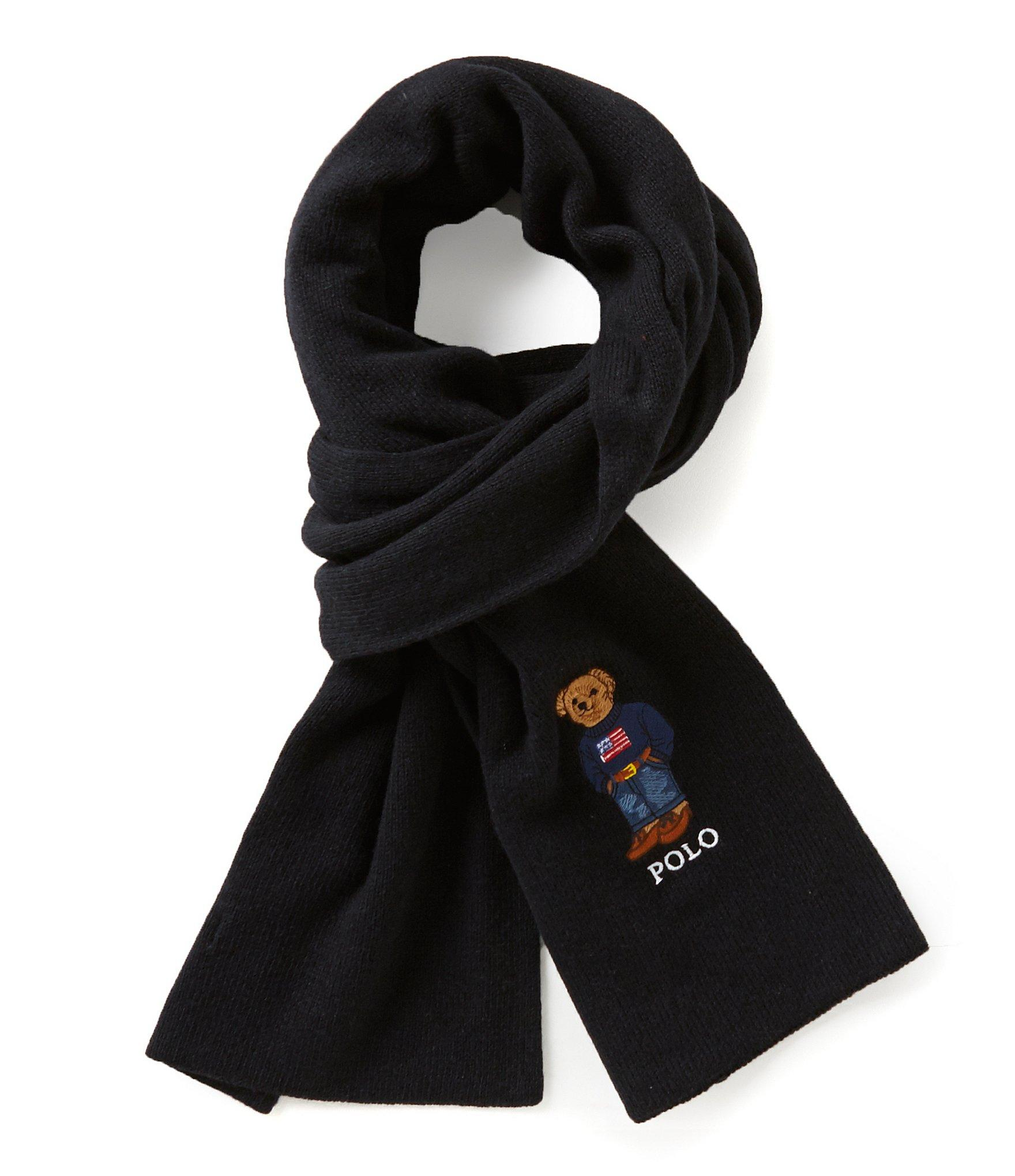 30d94b7b7f931 ... real lyst polo ralph lauren polo bear cardigan ribbed scarf in black  65591 12c02