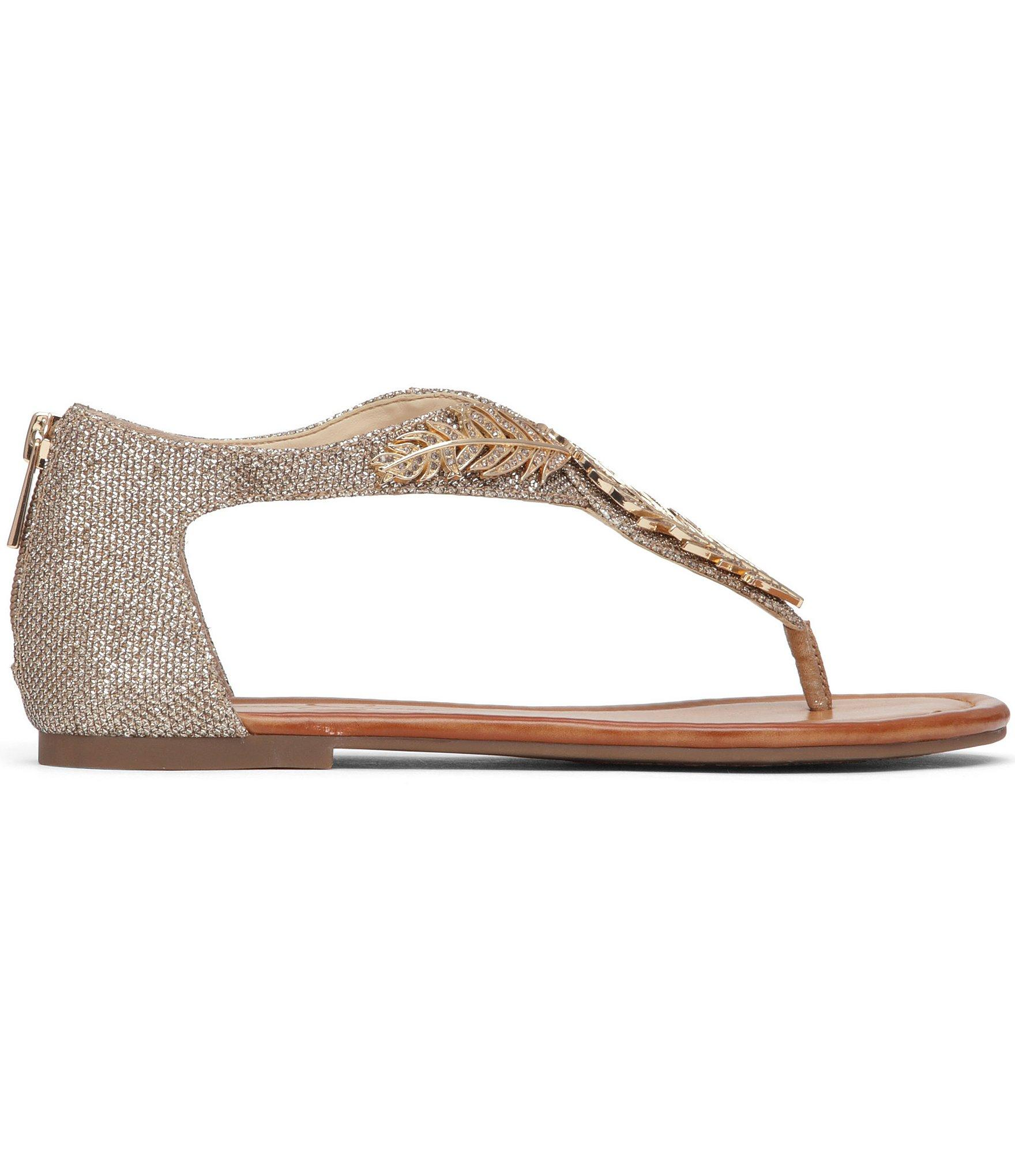 34c4b9993305 Lyst - Jessica Simpson Kalie Embellished Flat Thong Sandals in Metallic