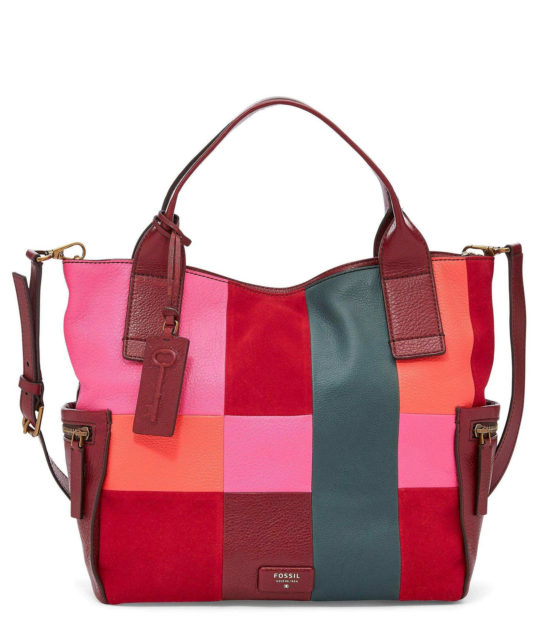 6fcb5ef7f1 Lyst - Fossil Emerson Patchwork Satchel in Red