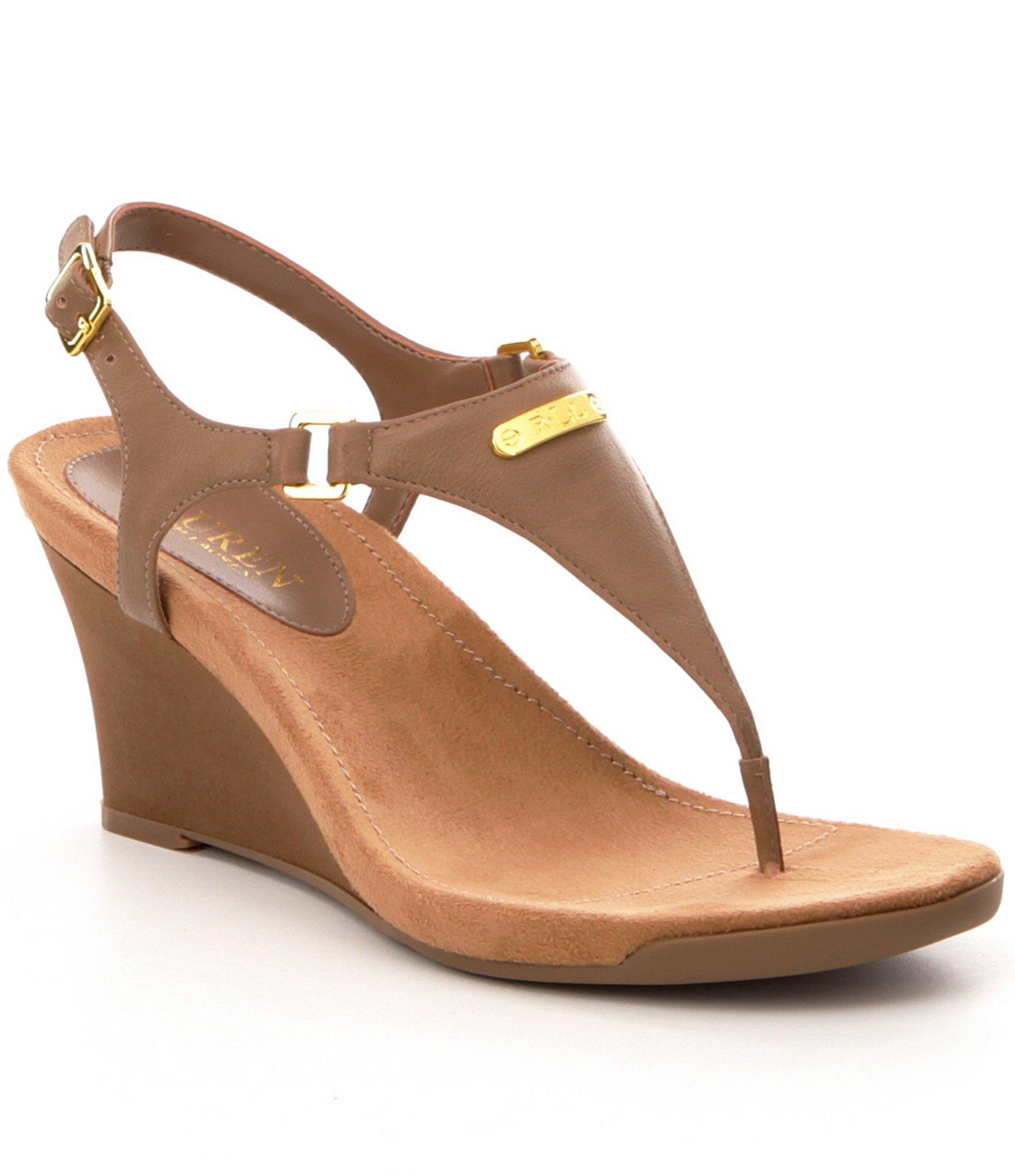 c65c275bf0 Lauren by Ralph Lauren Nikki Leather Wedge Sandals in Brown - Lyst