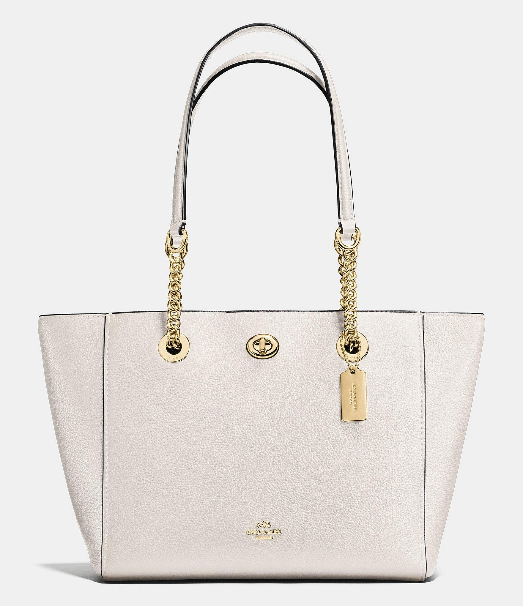 4619f3fceff8 Lyst - COACH Turnlock Chain Tote In Polished Pebble Leather in Metallic