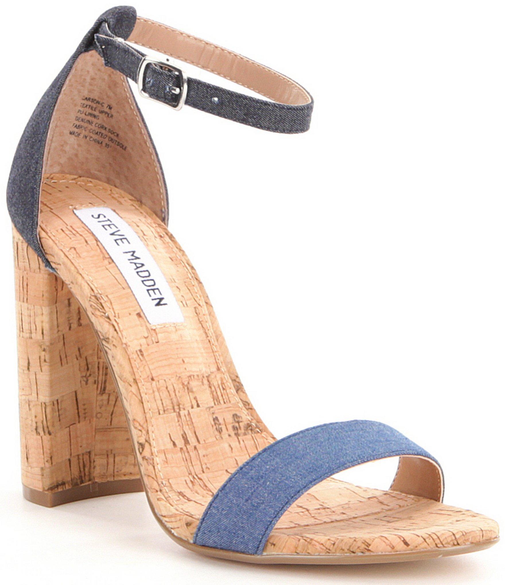 cd12973747b Lyst - Steve Madden Carson Cork Denim Fabric Dress Sandals in Blue