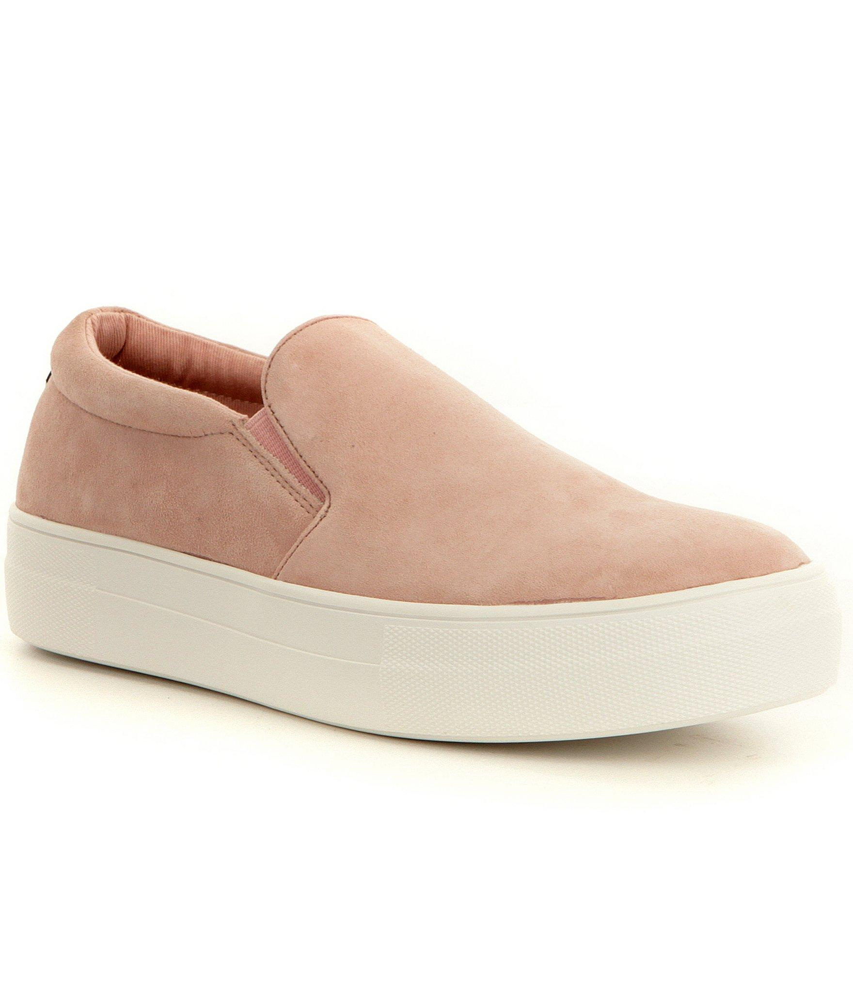 ade7a3226a78 Lyst - Steve Madden Gills Suede Slip On Platform Sneakers in Pink ...