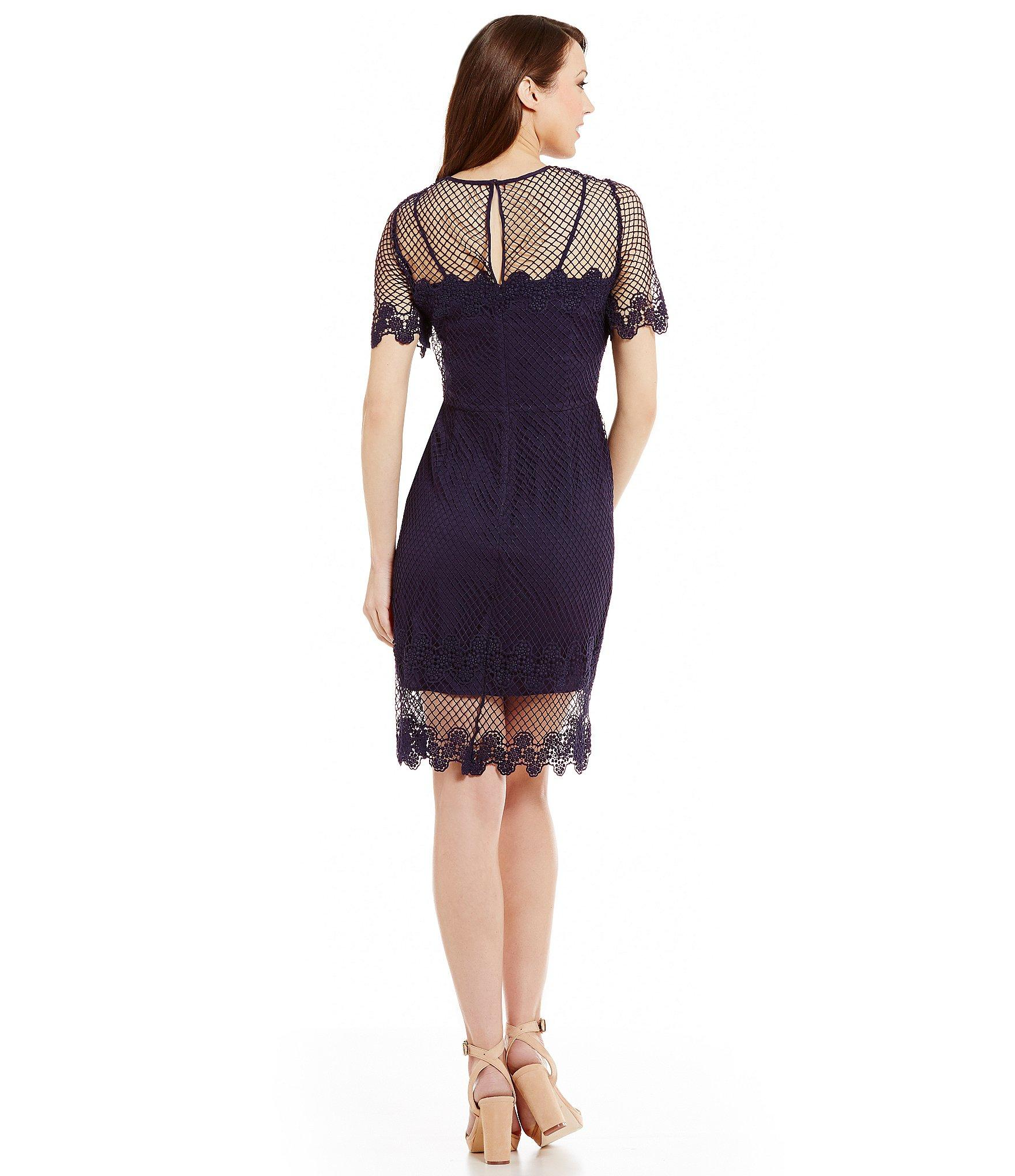 a272a2c88ad Lyst - Antonio Melani Milly Crew Neck Short Sleeve Mesh Lace Dress ...