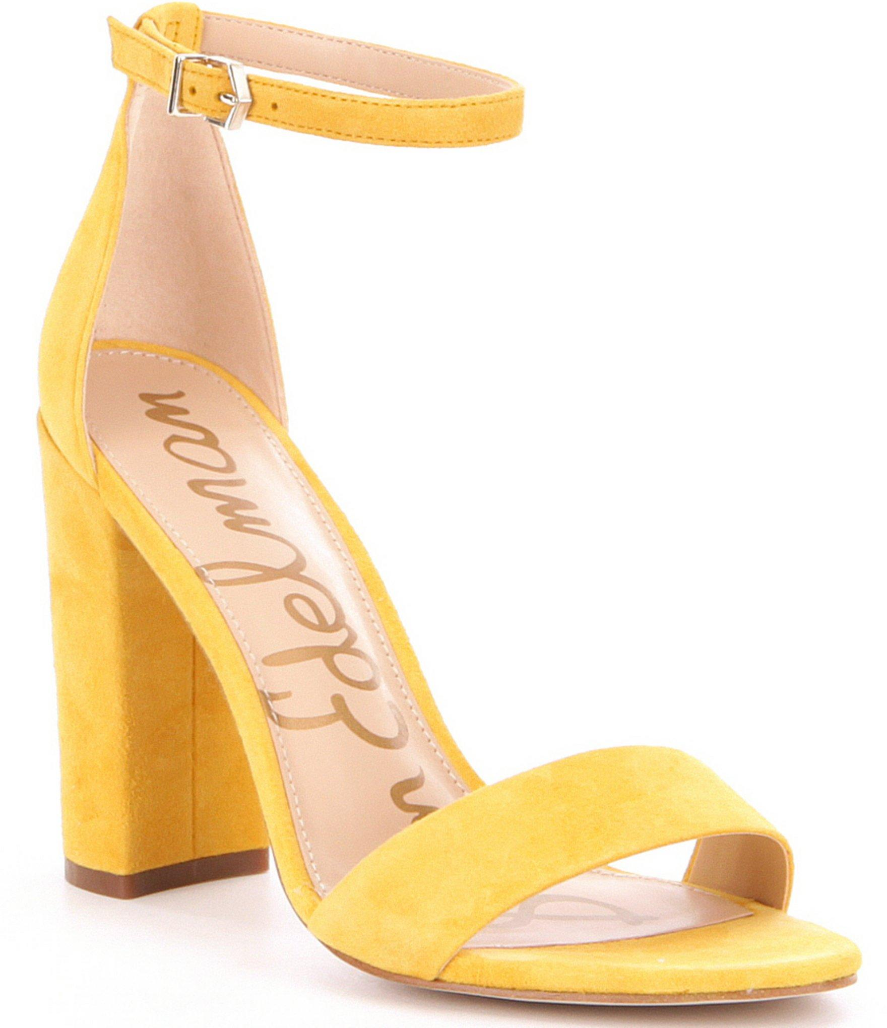 5f612d14761a Lyst - Sam Edelman Yaro Suede Block Heel Dress Sandals in Yellow