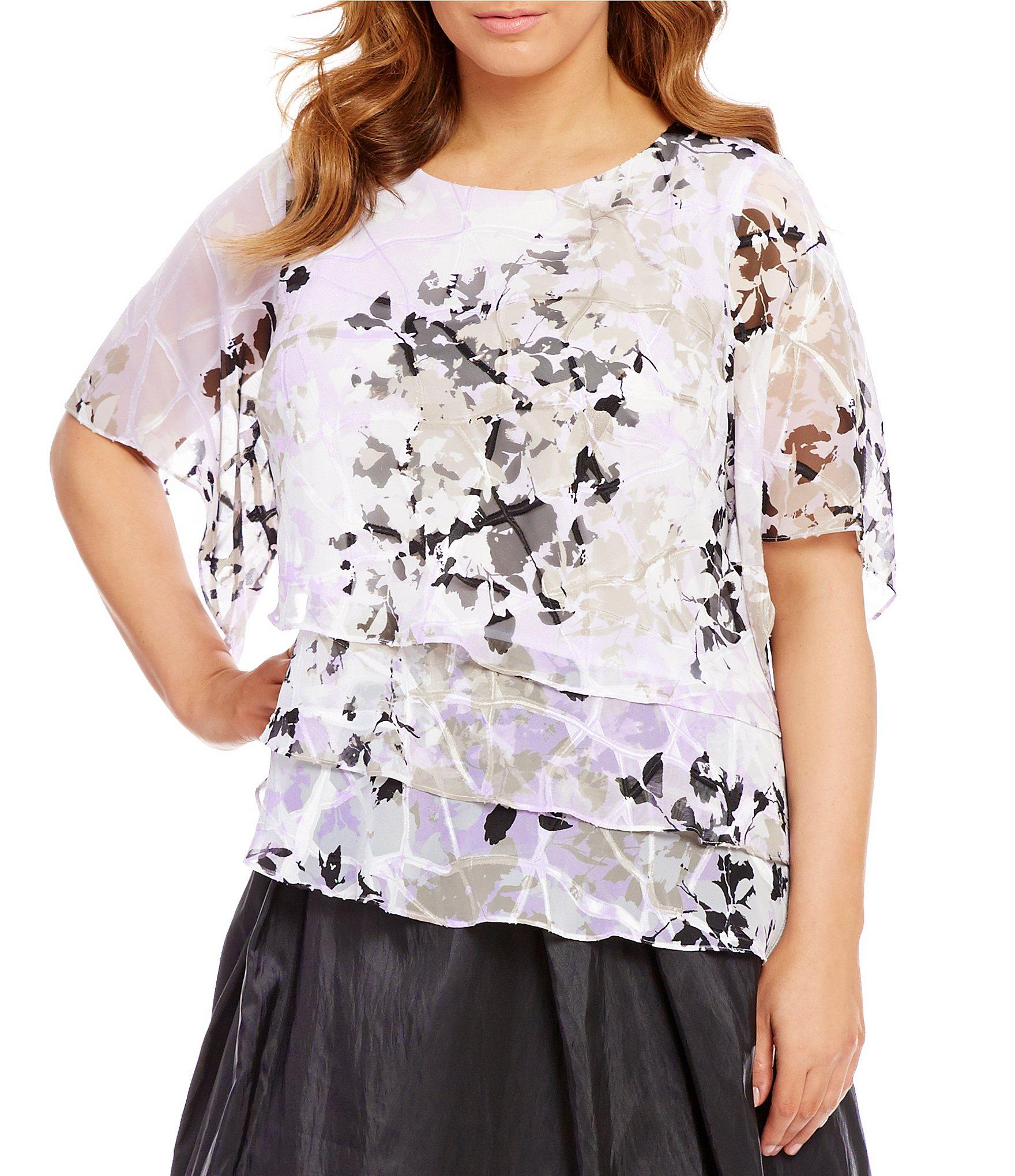Alex evenings Plus Printed Tiered Chiffon Blouse | Lyst
